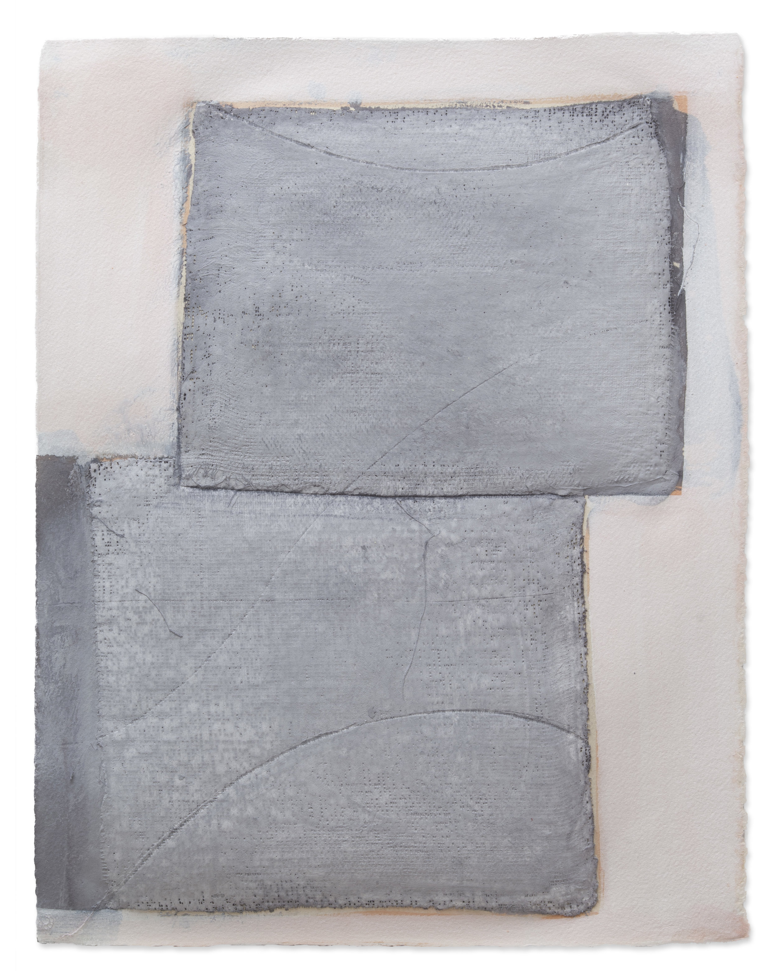 Grey Squared, 2018, plaster, paint on paper, 14 x 18 in, SOLD