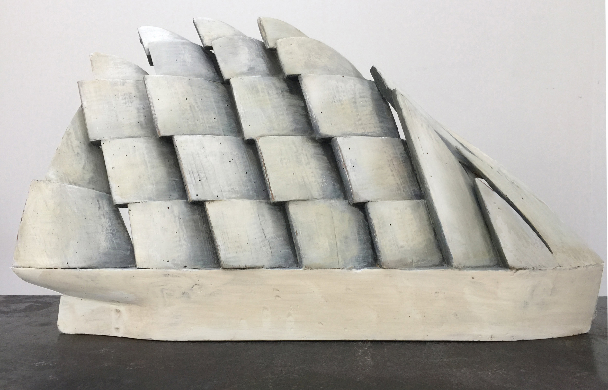 Hull with White Sail Composition, 2014, house paint on reclaimed lumber, 29.5 x 17 x 4 in, $2,800