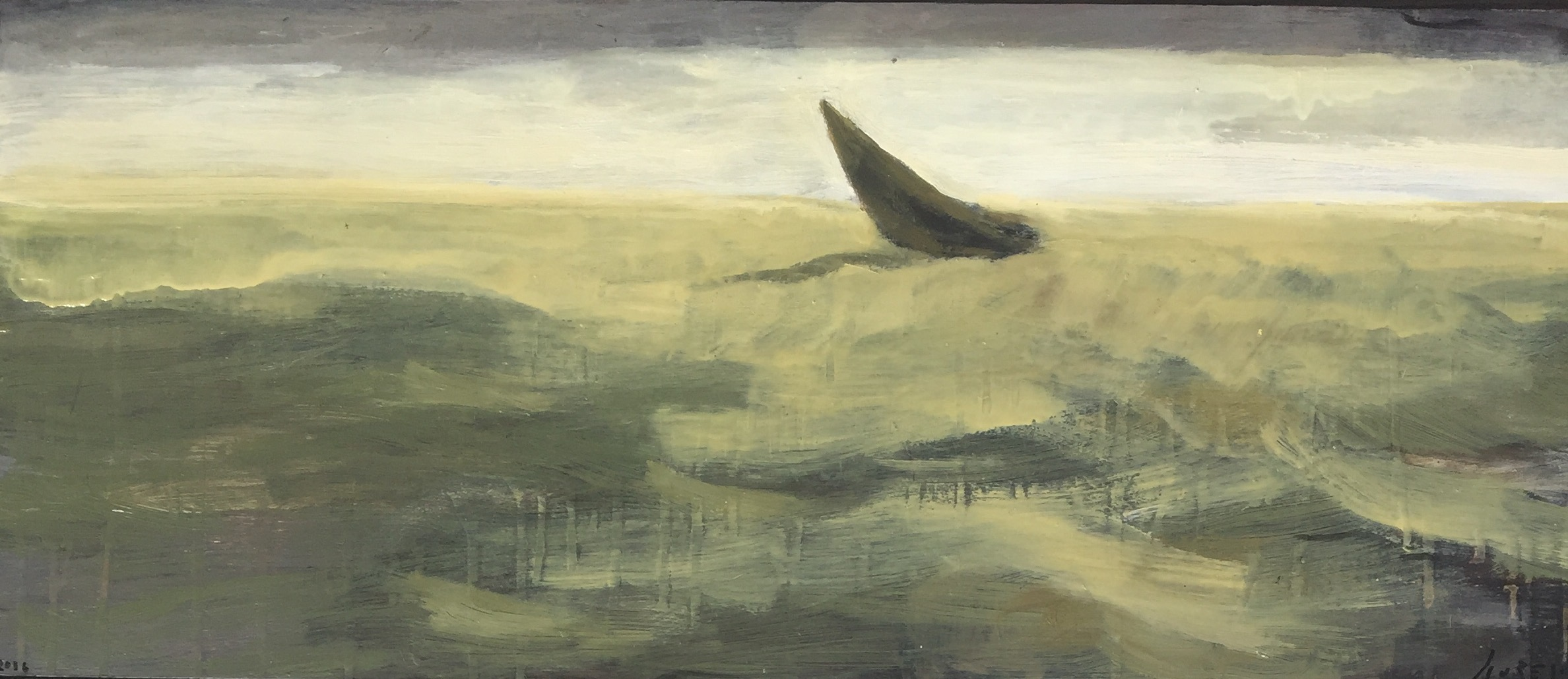 Voilier I, 2017, oIl on canvas, 35 x 15 in, $1,400