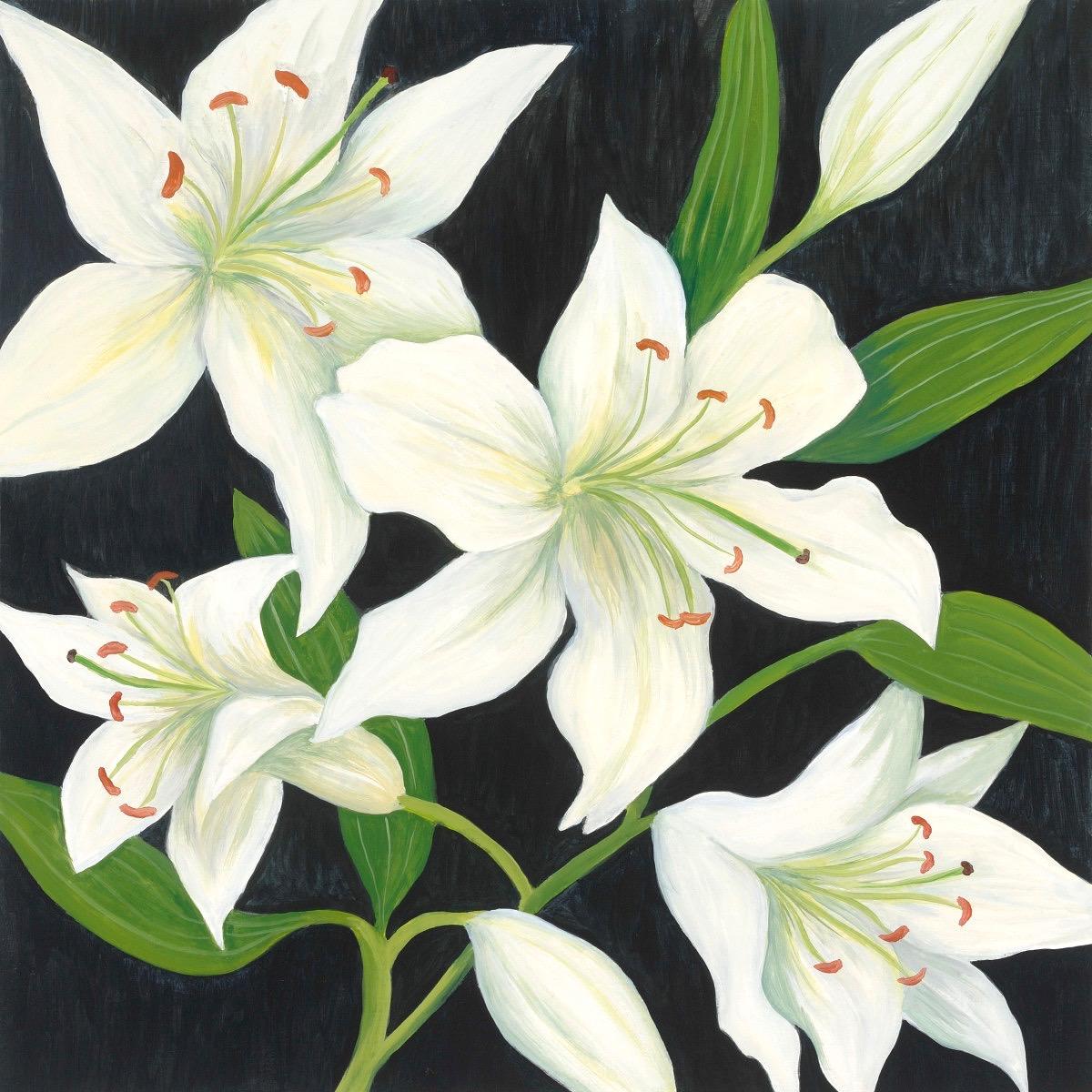 Lilies, 2016, oil on board, 18 x 18 in, $1,800