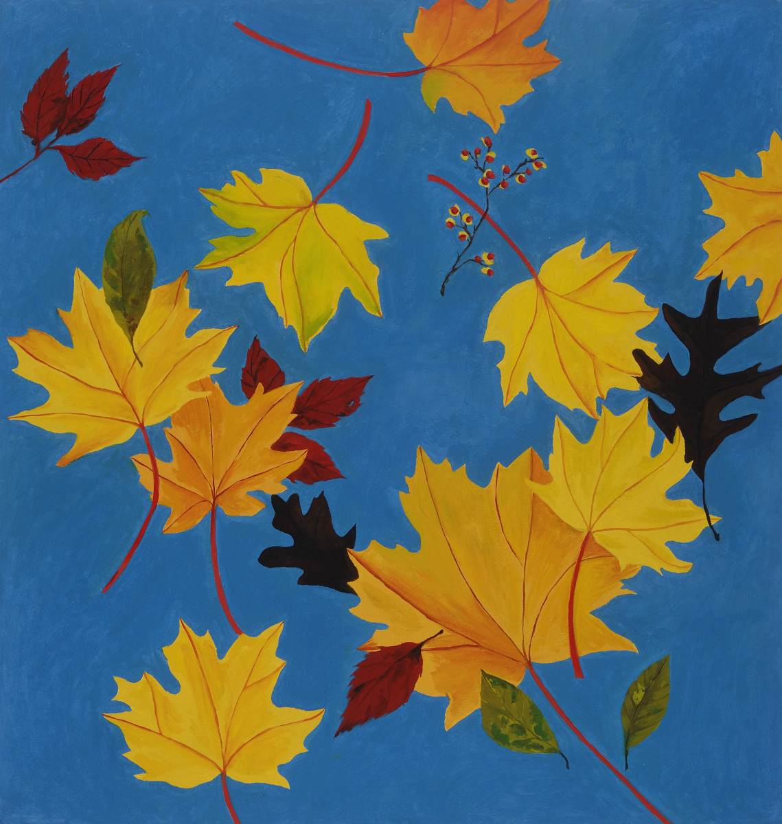 Fall, 2016, oil on paper, 31 x 32 in, $3,200