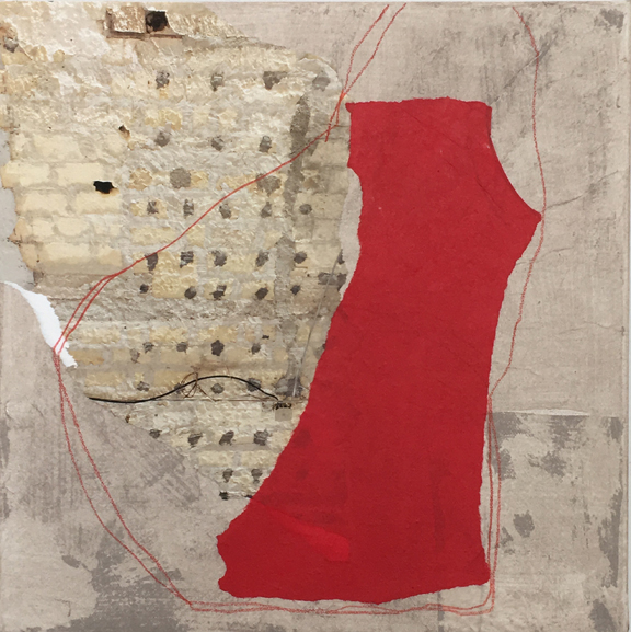Diane Englander, Red Form and Photo on Taupe, 2018, Mulberry paper, original photo, acrylic and pencil on canvas,  12 x 12 in $650