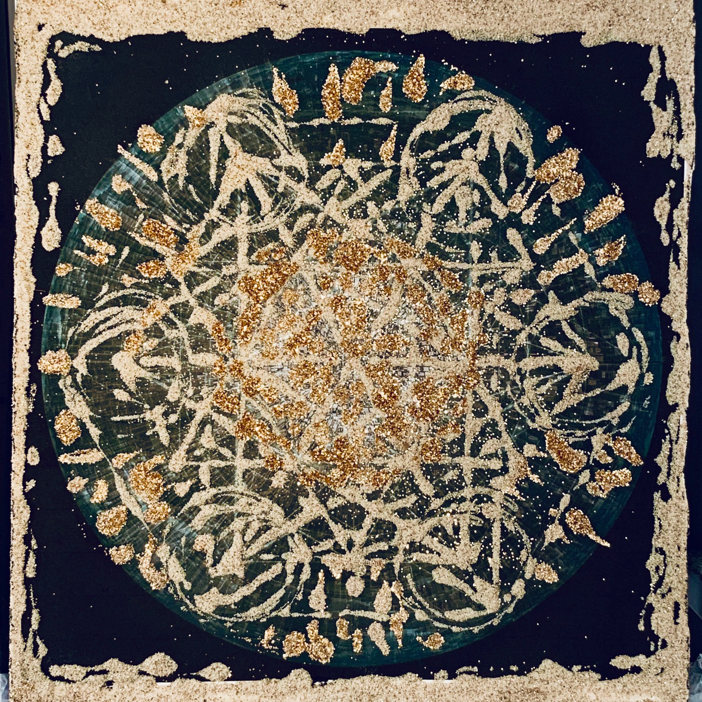 Mattai Metatron, sand and gold on paper, 15 x 11 in $850