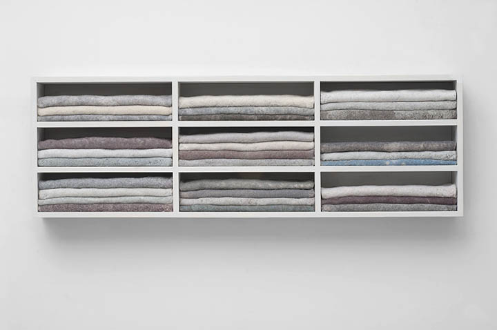 Carolyn Conrad, Lint Cabinet, 2018, dryer lint and wood, 12 x 38 x 4.5 in   $3600