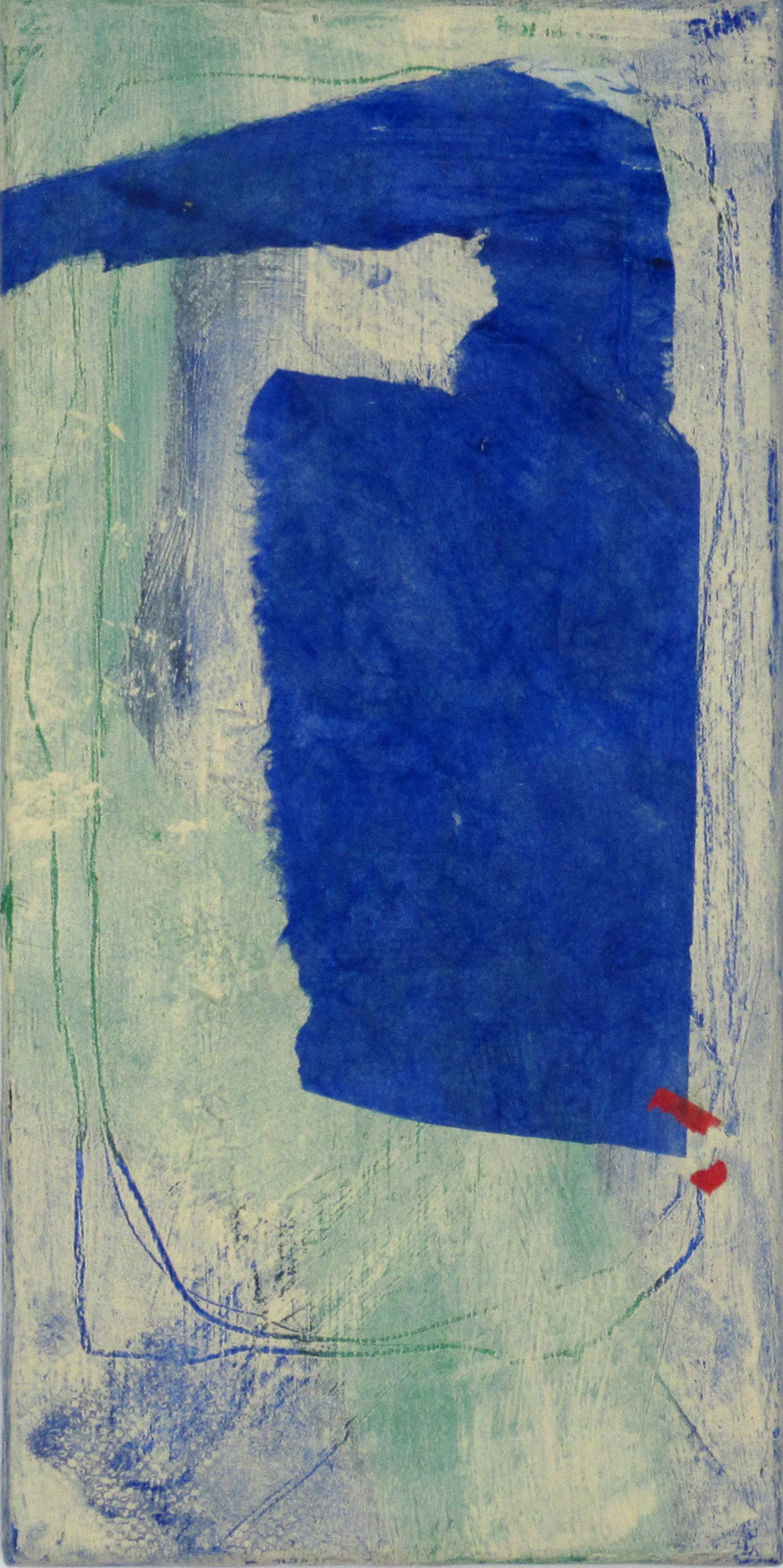Blue Form on Varied Ground II, 2018, mulberry paper, acrylic on canvas, 12 x 6 in, $500