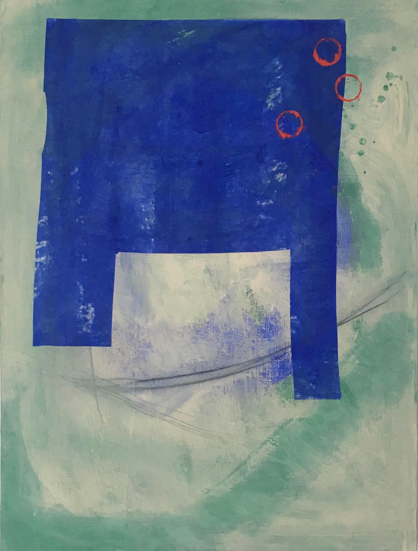 Blue Form on Varied Ground III, 2018, mulberry paper, acrylic on canvas, 24 x 18 in, $1,100
