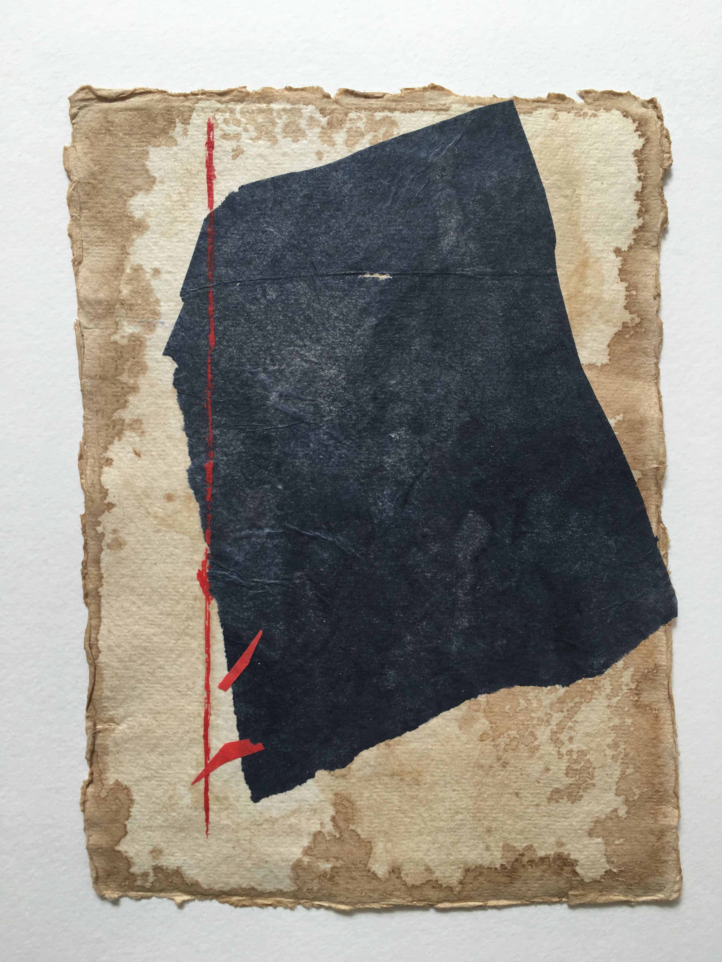 Gray on Tan with Red I, 2018, mixed media on coffee-dyed  watercolor paper, 8.25 x 6.25 in, $250