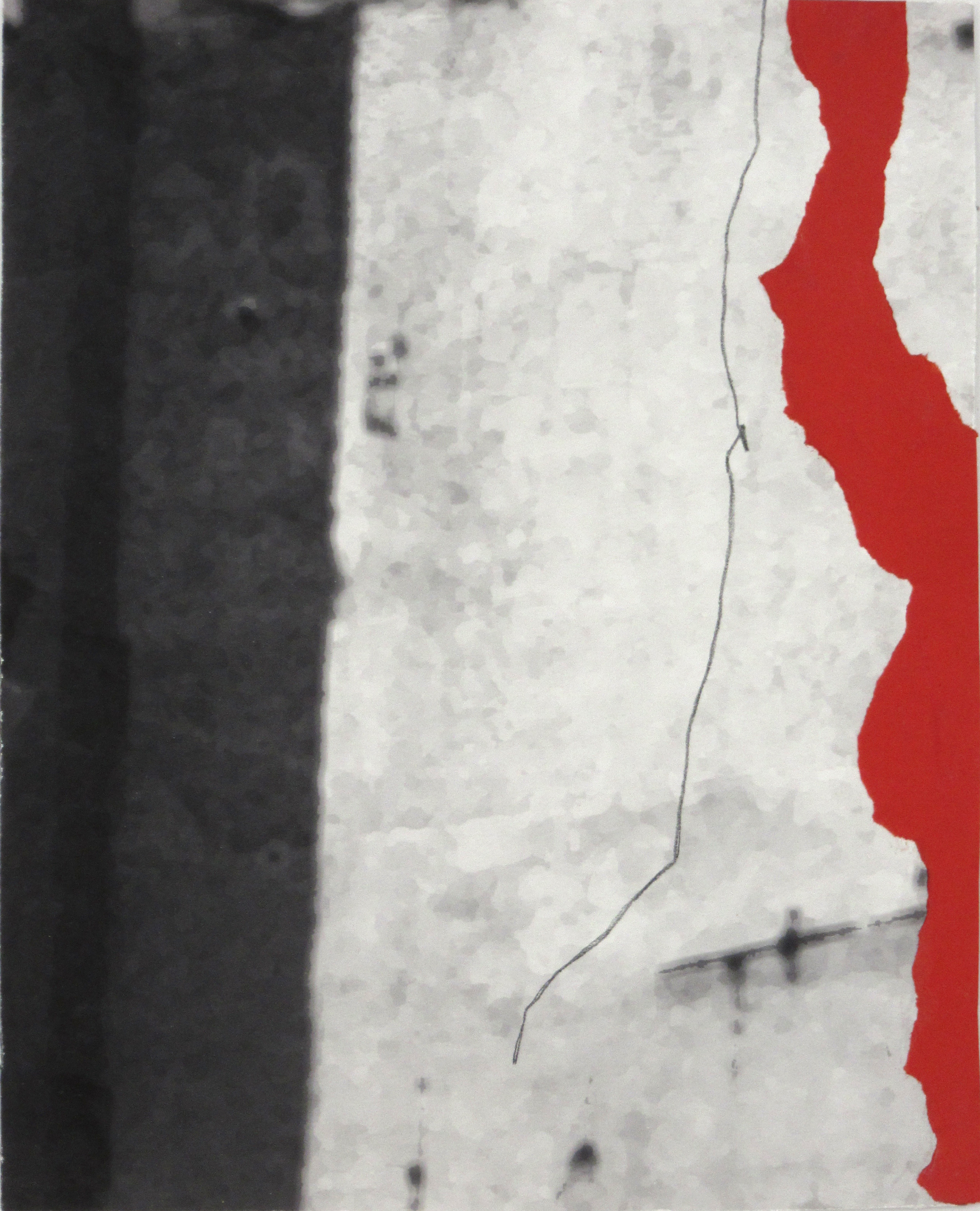NYC Photo with Red Form and Line, 2014, original photograph, paper, pencil, 10 x 8 in, $400