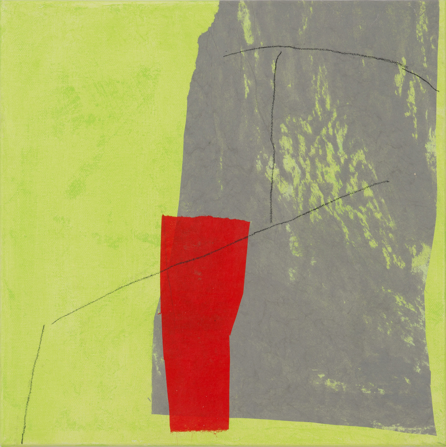 Red and Taupe on Green, 2013, papers, acrylic, pencil on canvas, 12 x 12 in, $650