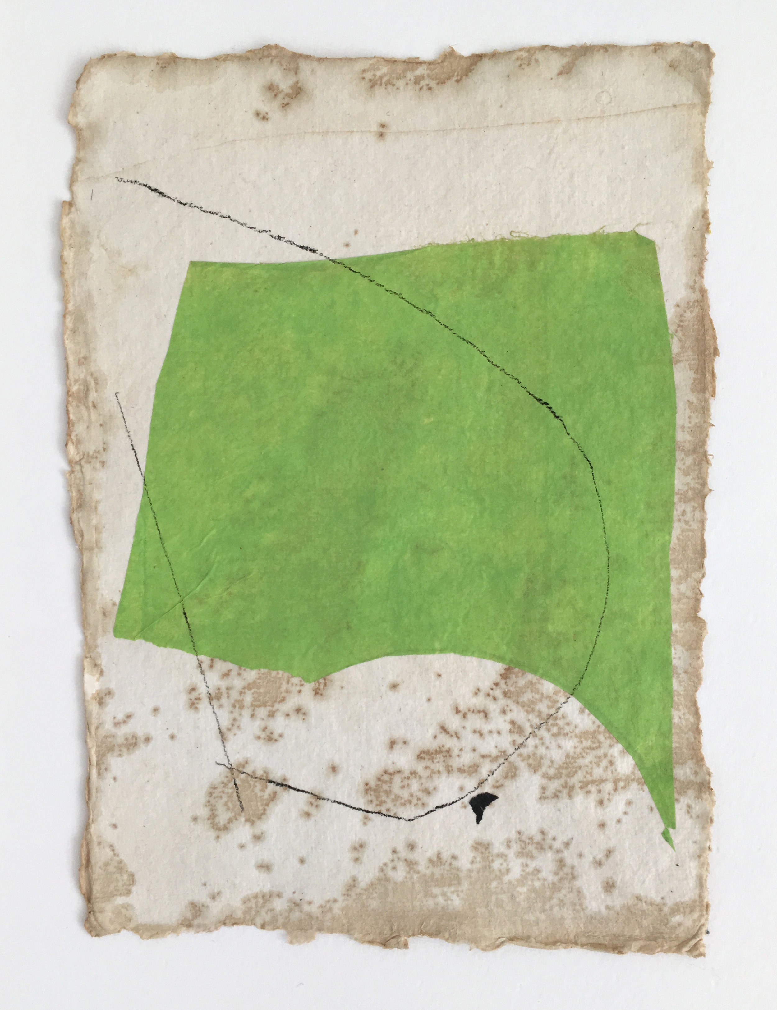 Pale Green on Tan with Black Lines and Speck, 2018, mixed media on coffee-dyed watercolor paper, 8.25 x 6.25 in, $250