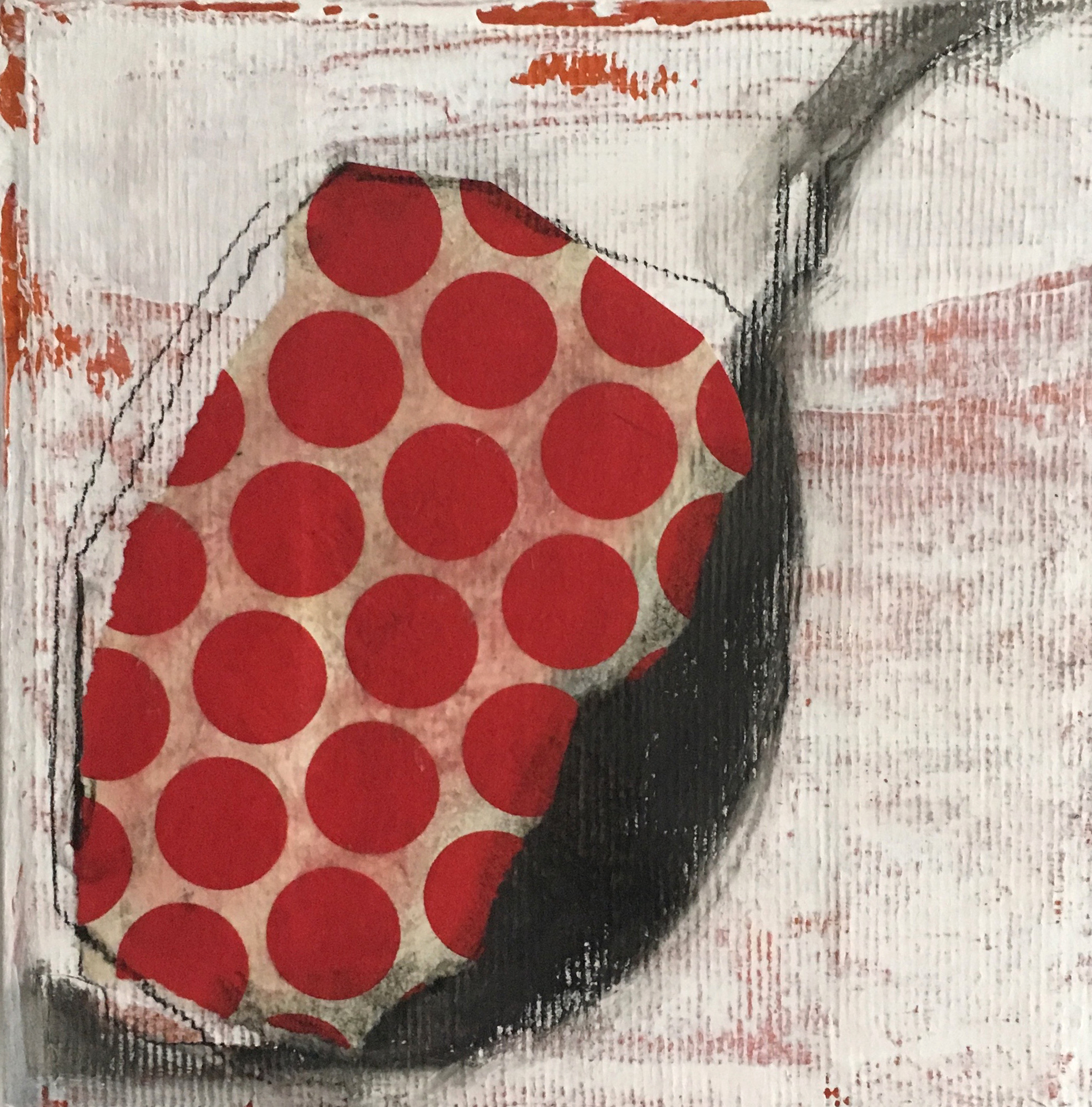 Red Dots with Black and White, 2019, mixed media on reused canvas, 8 x 8 in, $450