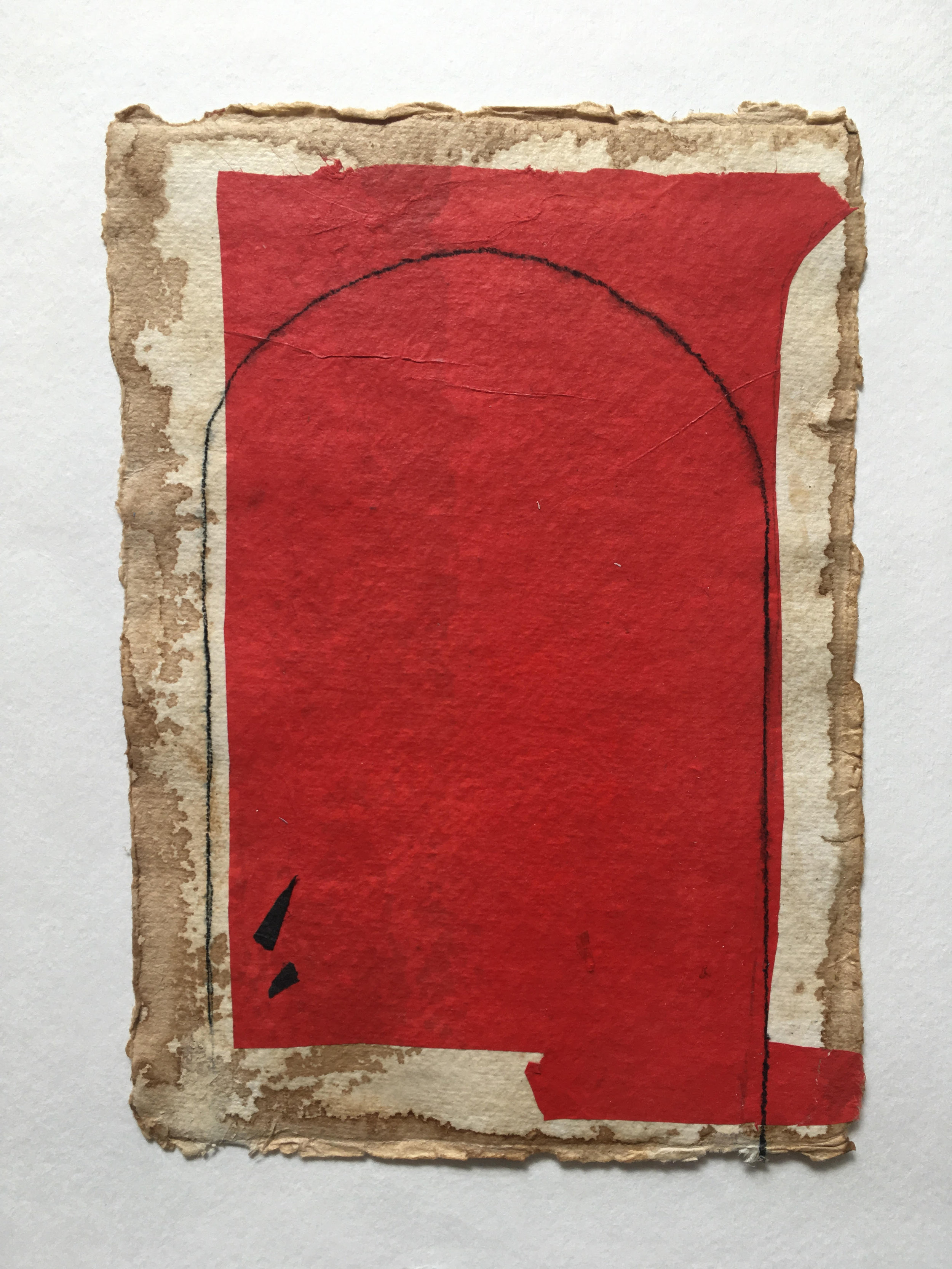 Red Form on Tan with Curved Line, 2018, mixed media on coffee-dyed watercolor paper,  8.25 x 6.25 in, $250