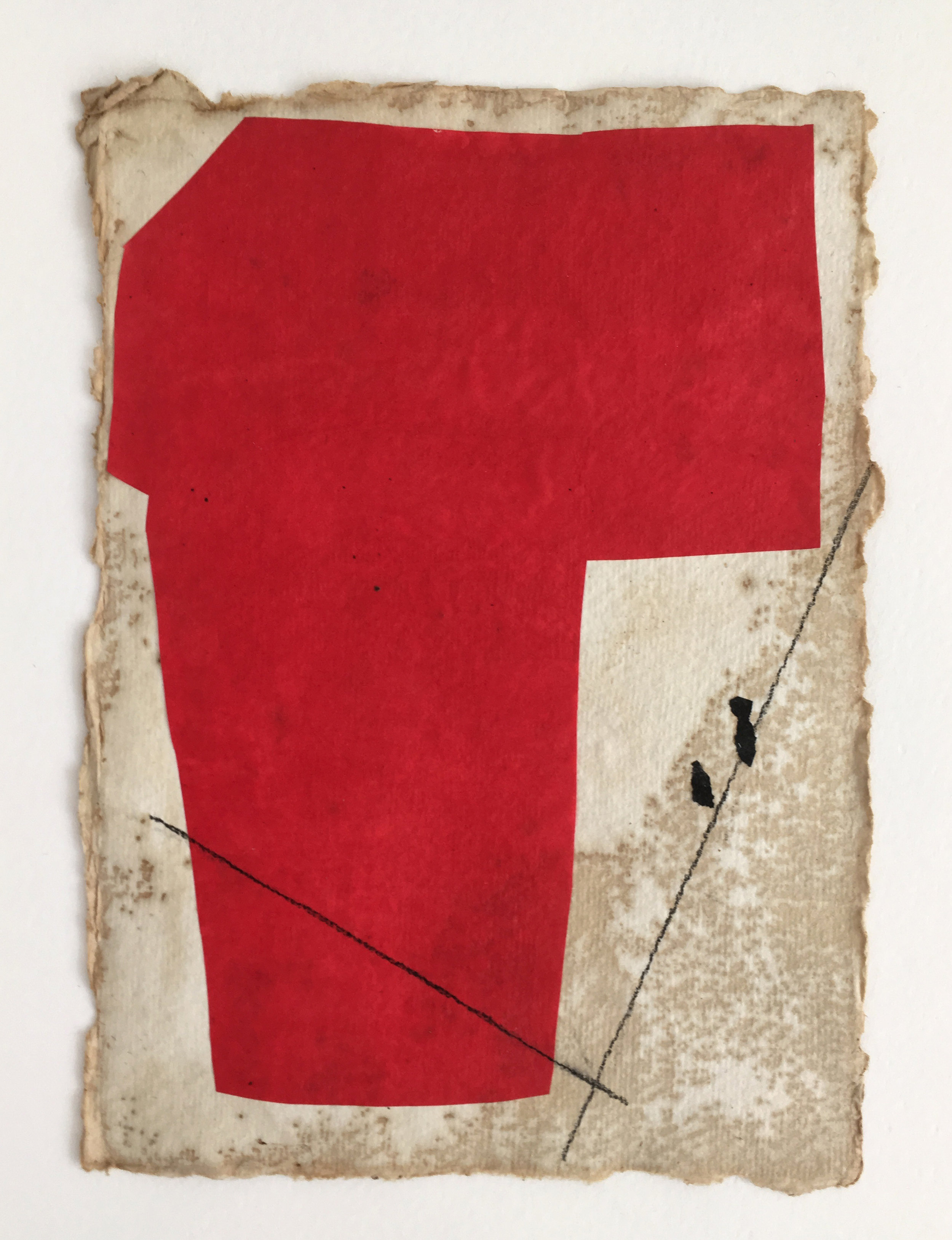 Red Form on Tan with Black Lines and Flecks, 2018, mixed media on coffee-dyed watercolor paper, 8 1/4 x 6 1/4 in, $250
