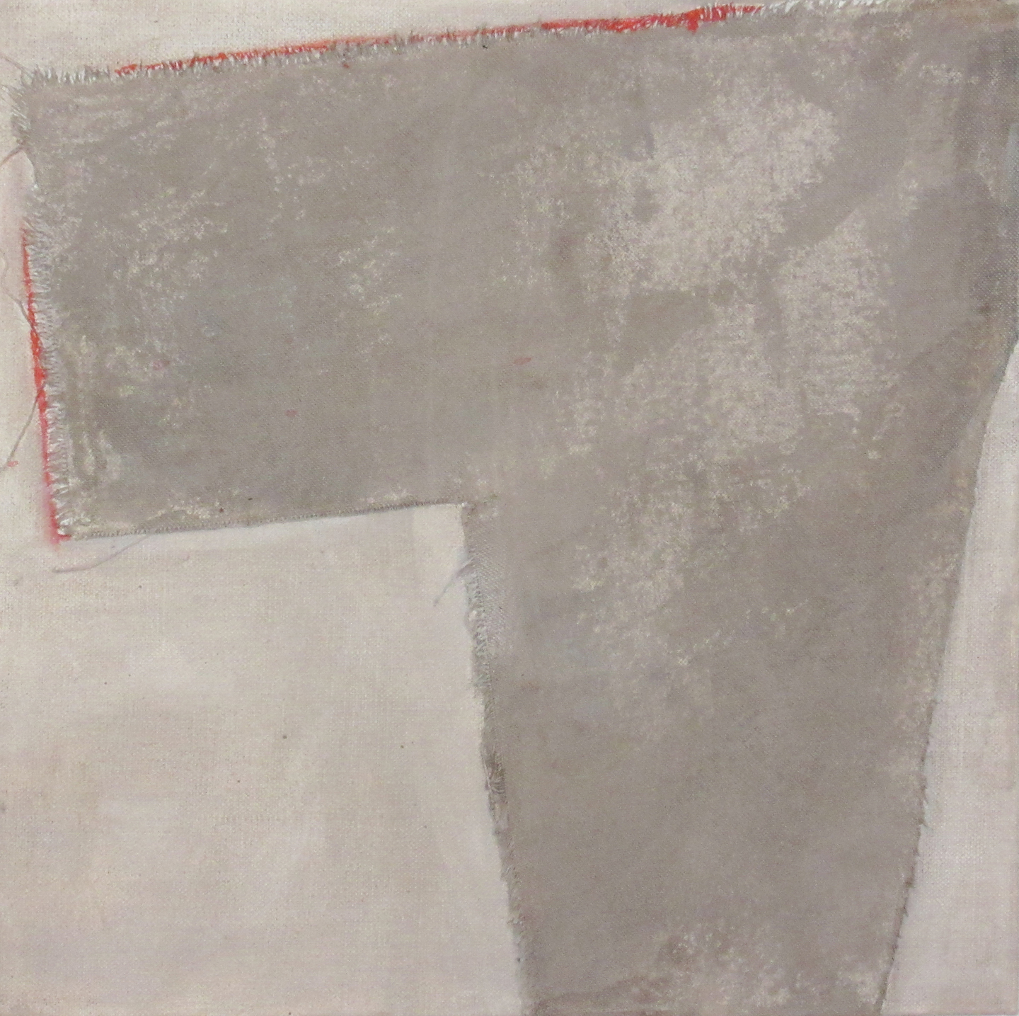 Taupe with Red I, 2016, fabric, acrylic and pencil on canvas, 12 x 12 in, $700