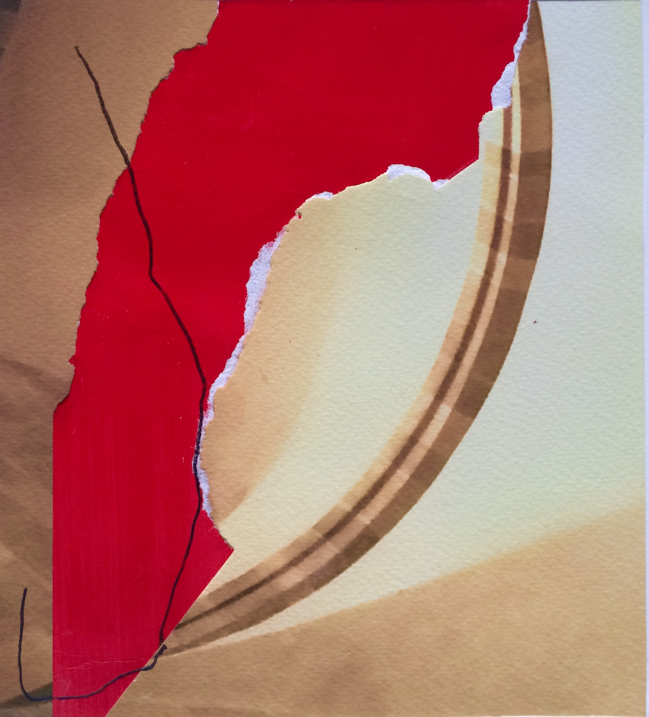 Tuscany: Photo with Red and Line, 2015, original photo with paper and pencil, 7.75 x 7 in, $350