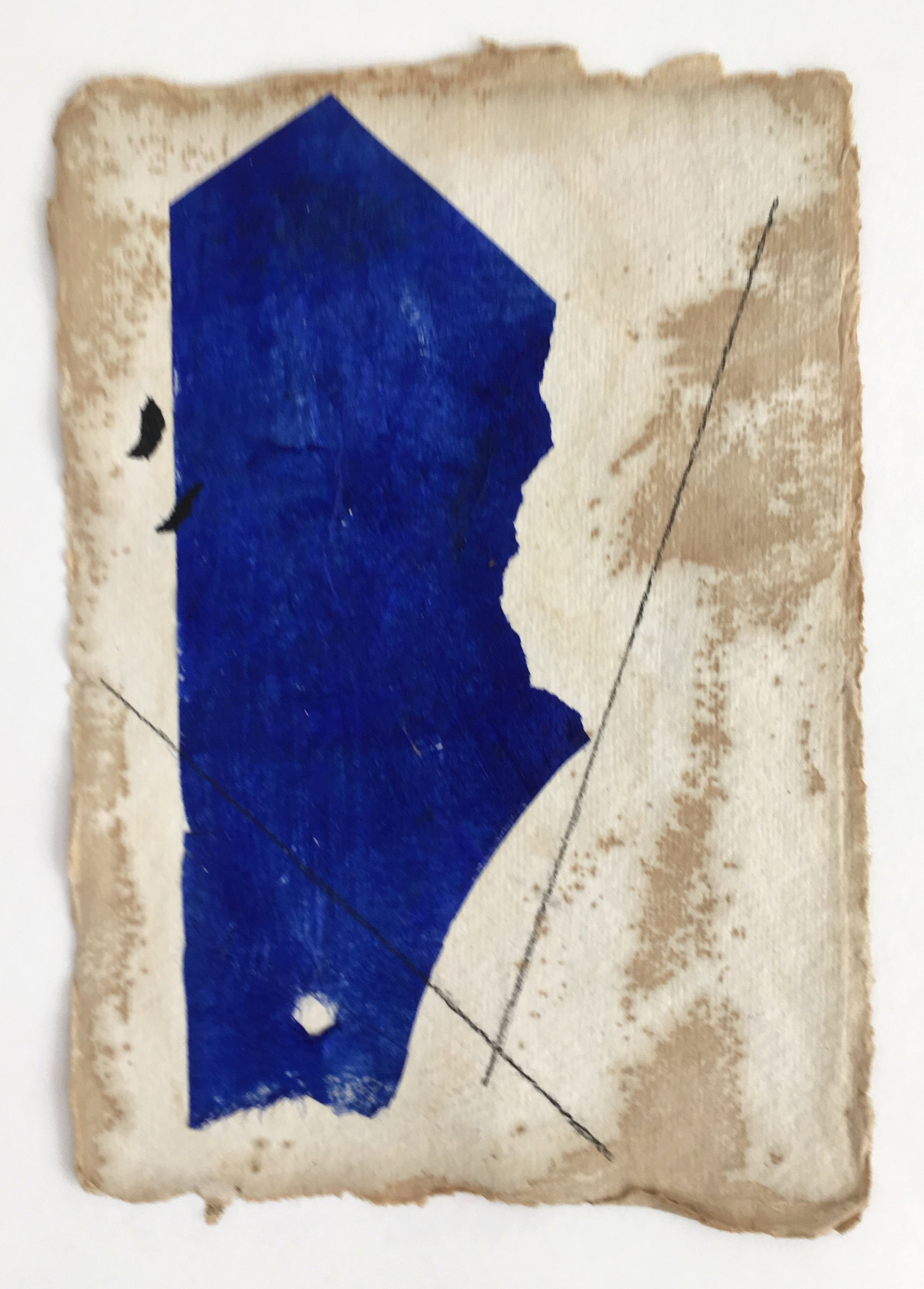 Ultramarine on Tan with Black Lines and Flecks, 2018, mixed media on coffee-dyed water color paper, 8.25 x 6.25 in, SOLD