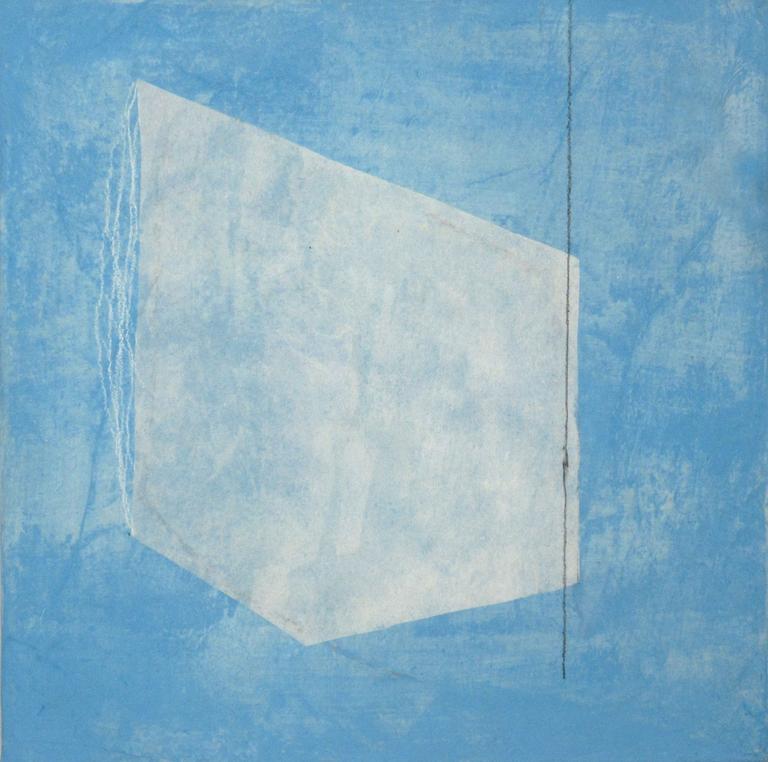 White on Pale Blue with Line, 2019, mixed media on cradled wood, 10 x 10 in, $550