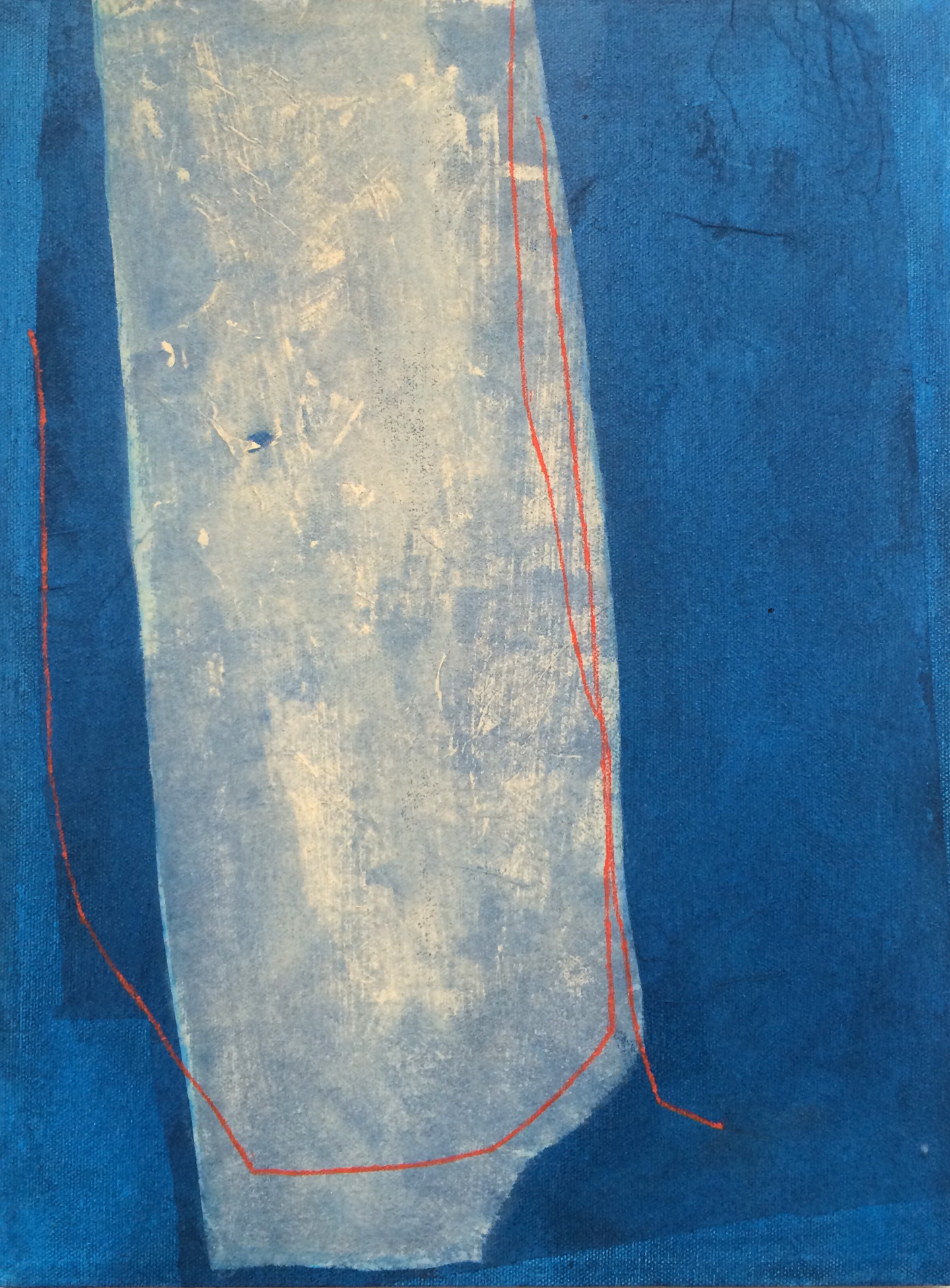 Buff Form on Blue with Red Lines, 2015, mixed media on canvas, 16 x 12 in, SOLD
