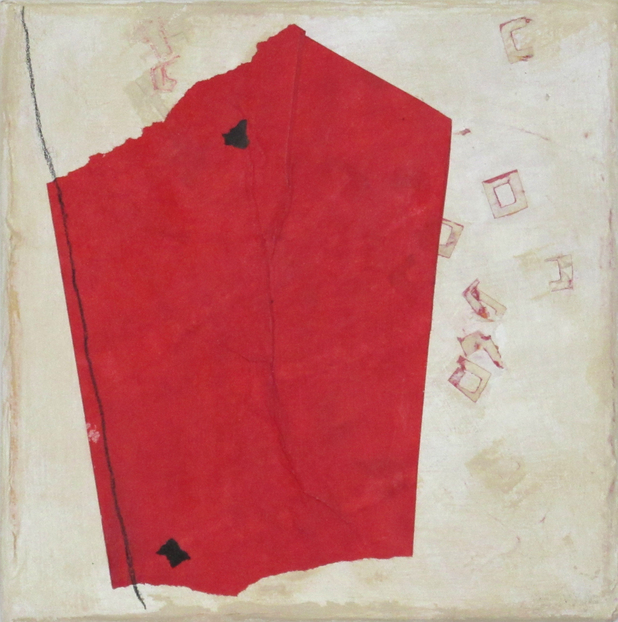 Buff with Red Form and Line, 2016, mixed media on canvas, 6 x 6 in, SOLD