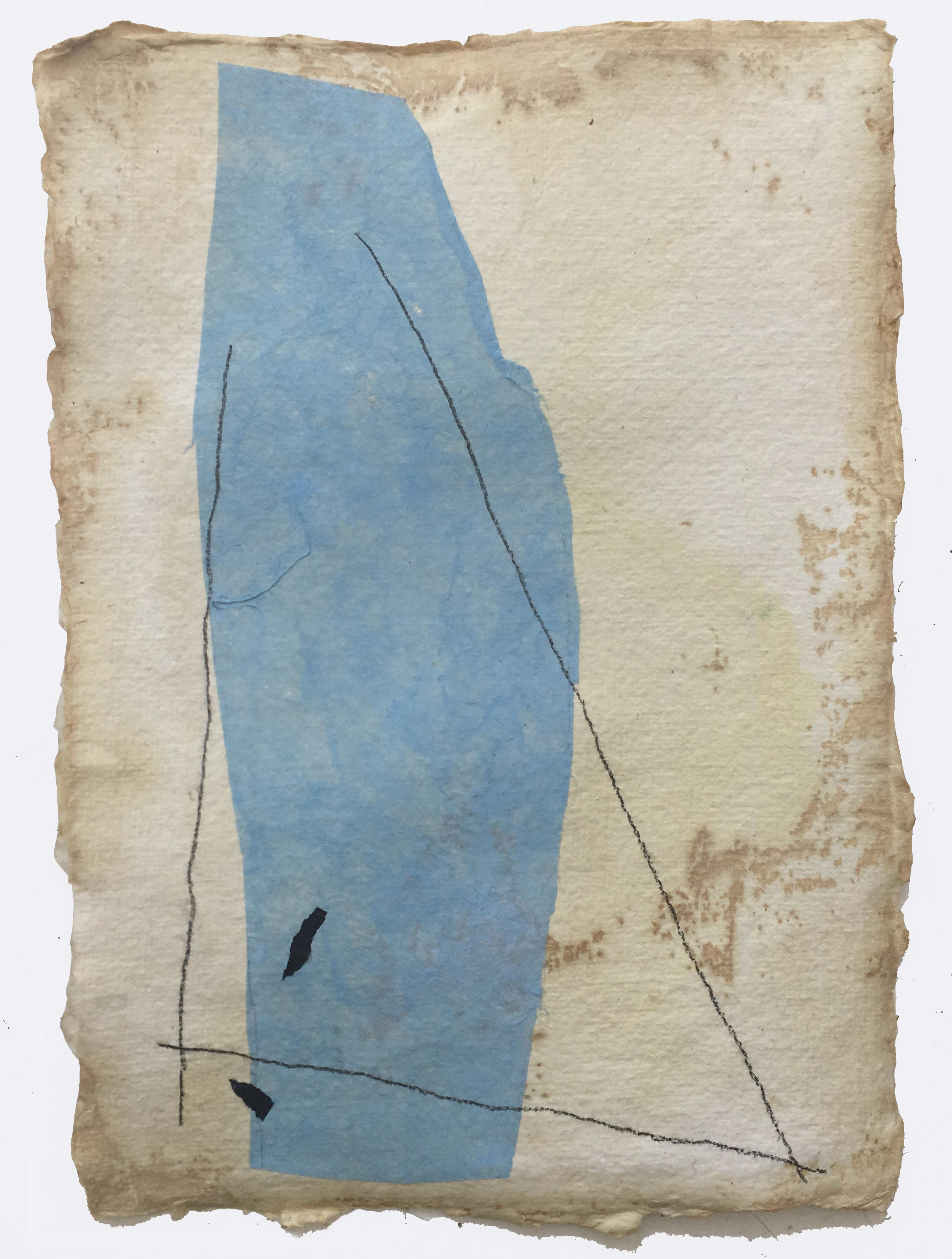 Pale Blue with Lines and Flecks on Tan, 2018, mixed media on coffee-dyed watercolor paper, 8.25 x 6.25 in, SOLD