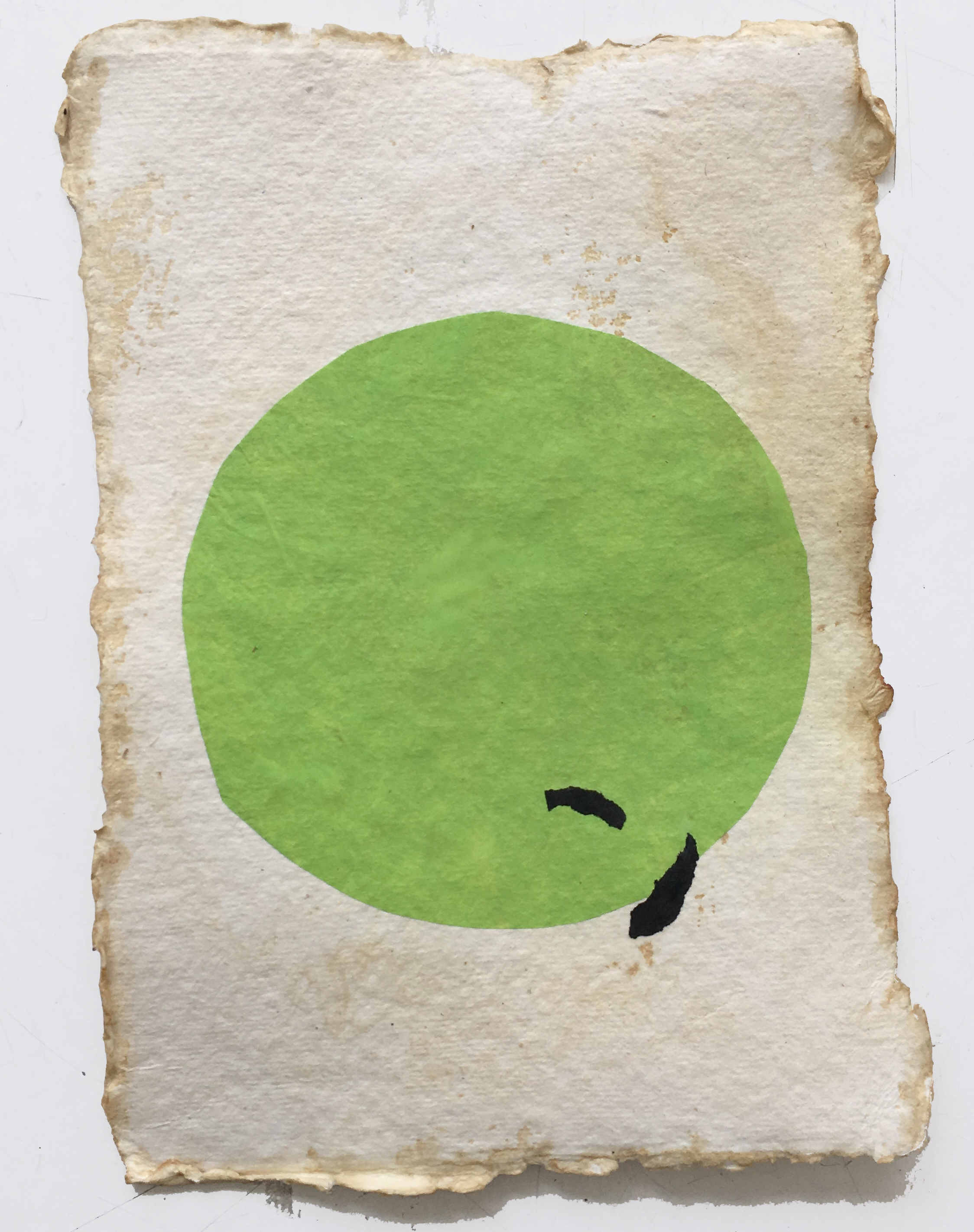 Pale Green Circle on Tan, 2018, mixed media on coffee-dyed watercolor paper, 8.25 x 6.25 in, SOLD