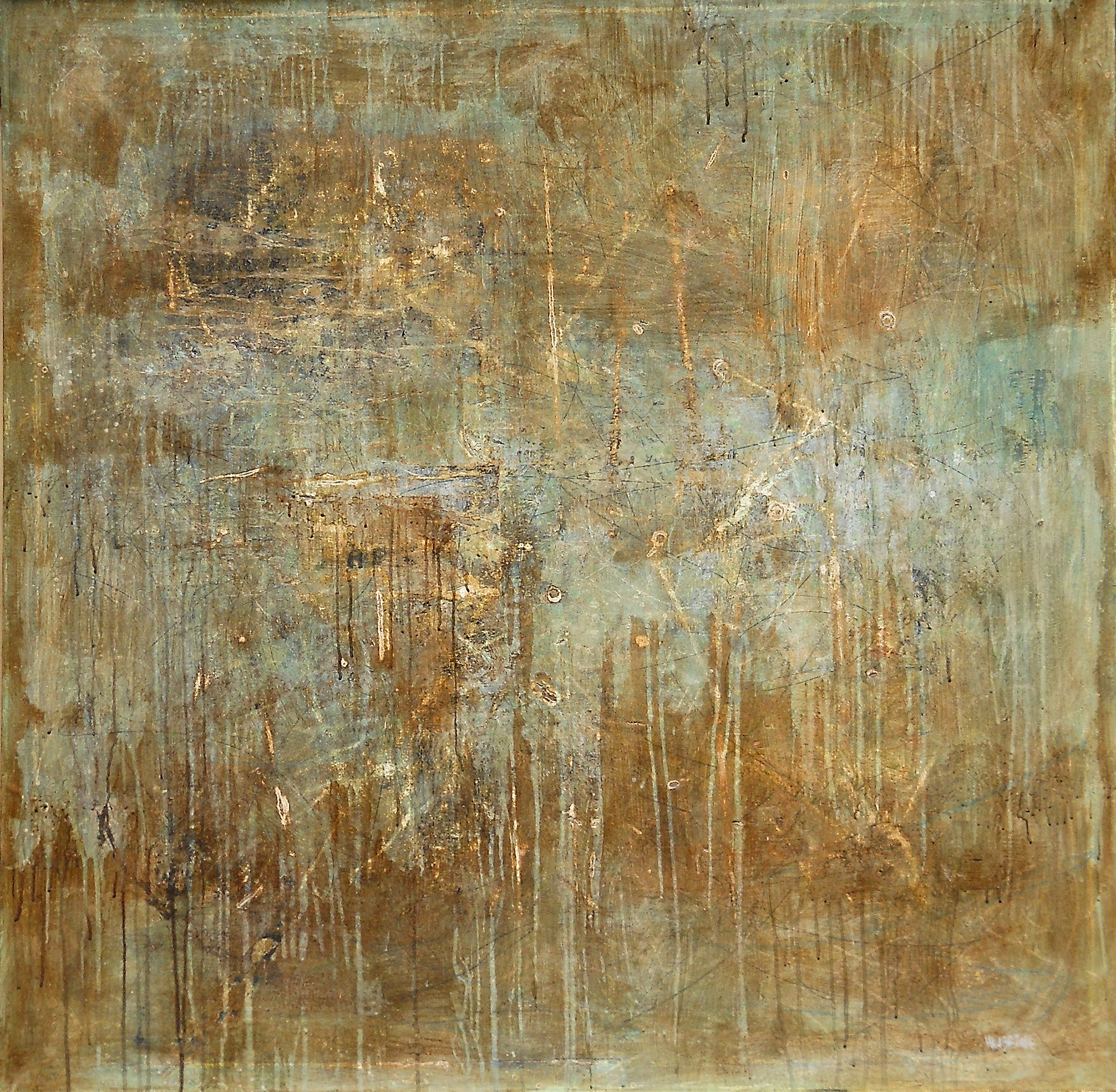The In Between, 2005, mixed media on canvas, 48 x 48 in, $4,500
