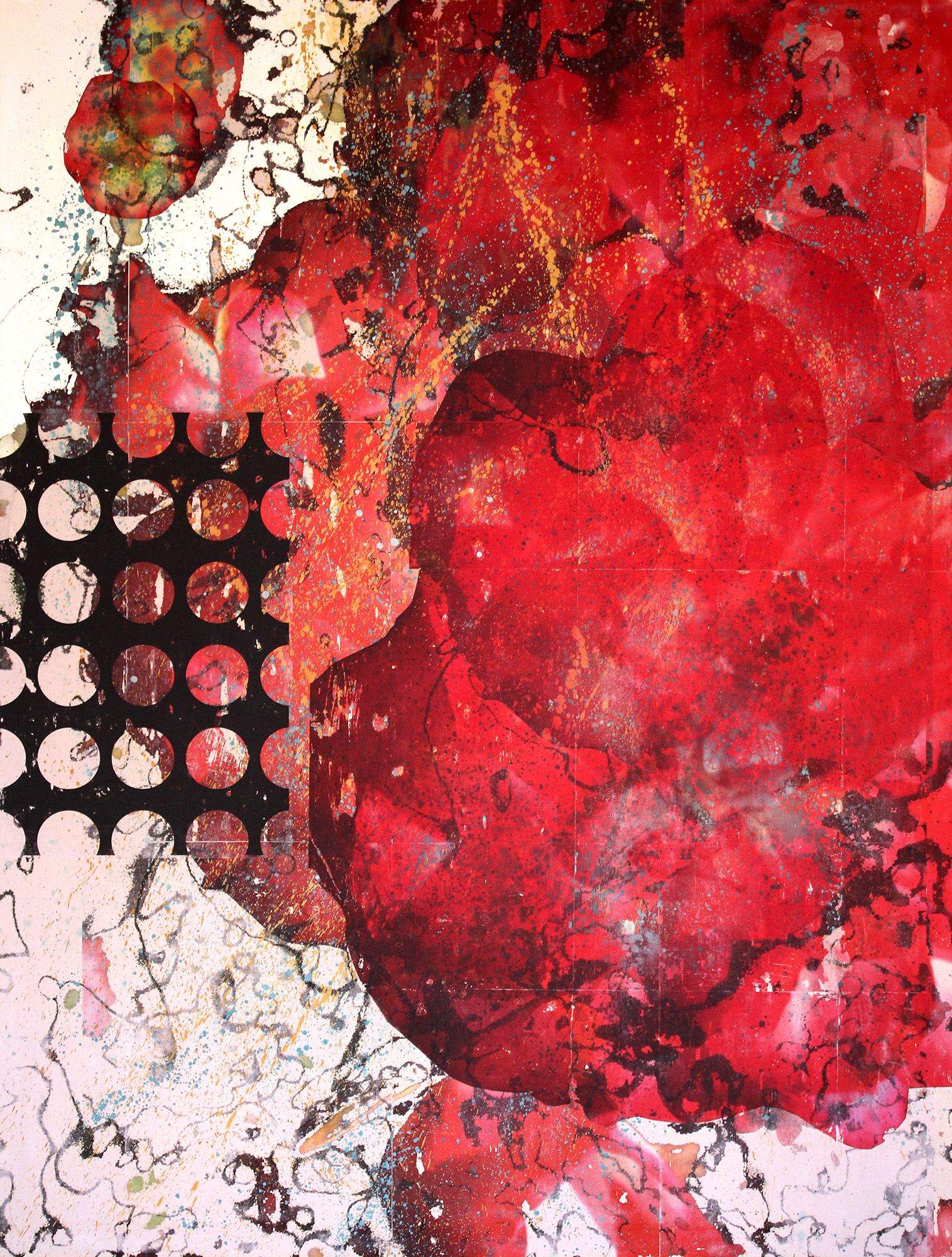 Love Bomb, 2015, mixed media on canvas, 48 x 36 in, SOLD