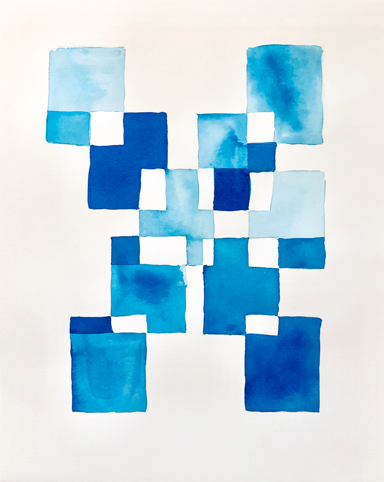 Blue Geometry 2, 2019, mixed media on paper, 16 x 20 in, $3,000