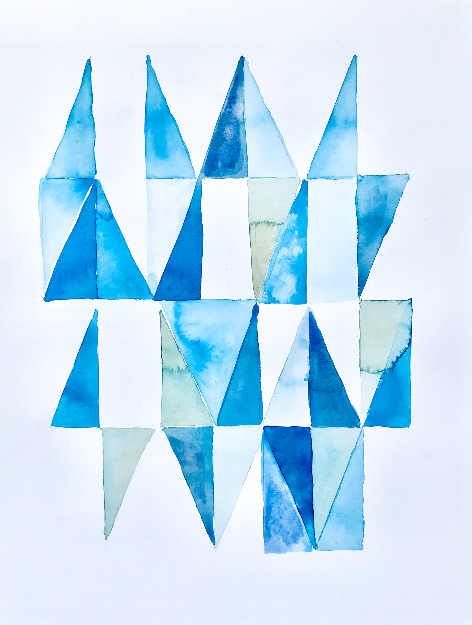 Blue Geometry 6, 2019, mixed media on paper, 16 x 20 in, $3,000