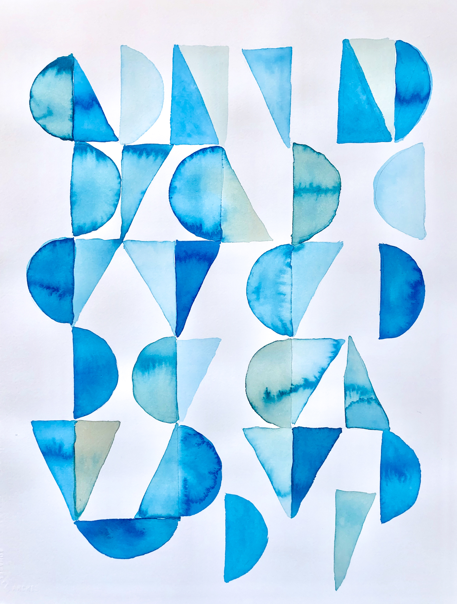 Blue Geometry 5, 2019, mixed media on paper, 16 x 20 in, $3,000