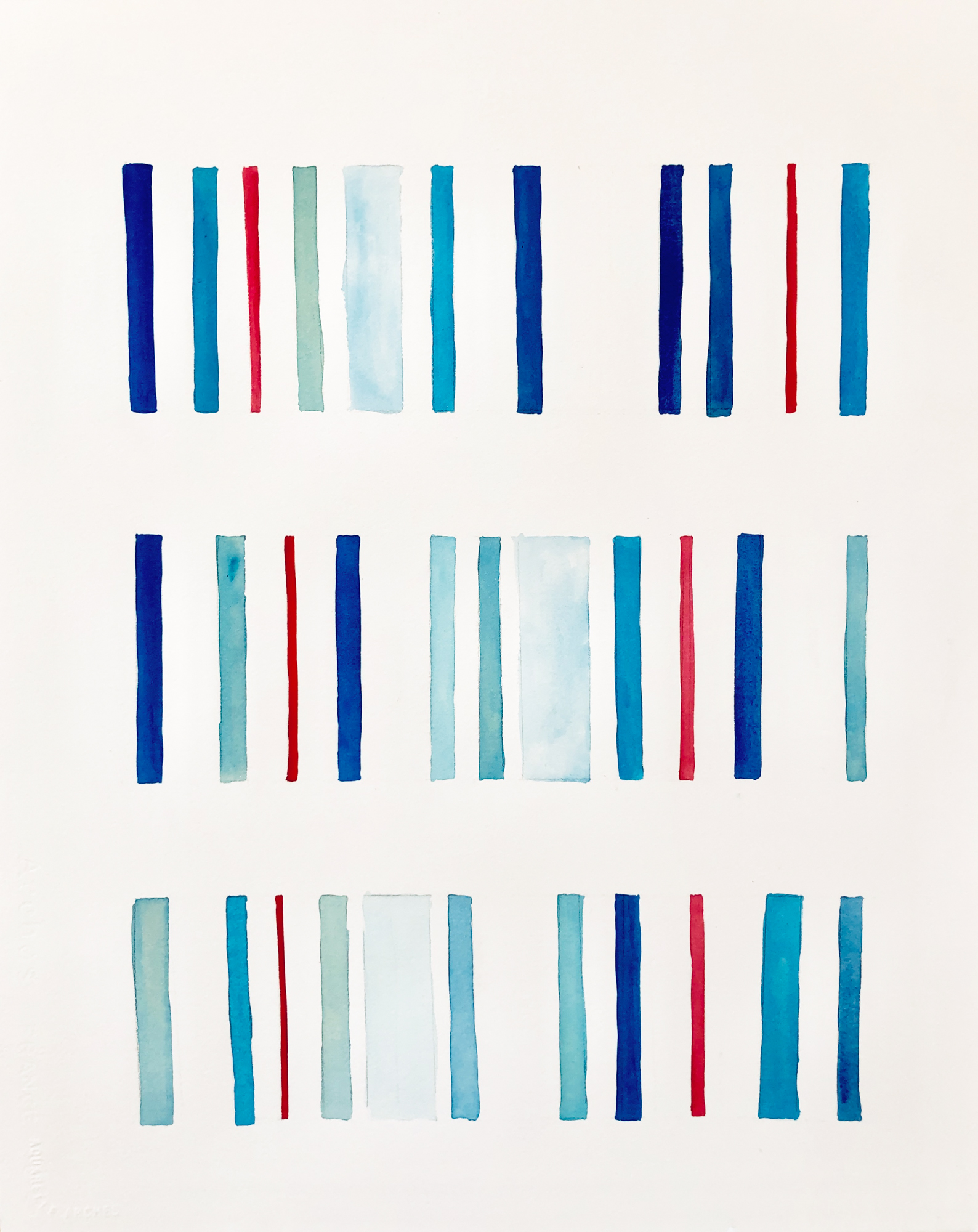 Blue Red Lines, 2019, mixed media on paper, 16 x 20 in, $3,000