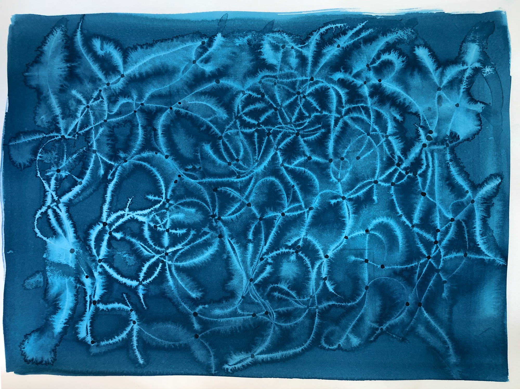 Blue Topography, 2015, mixed media on paper, 22 x 30 in, $5,000
