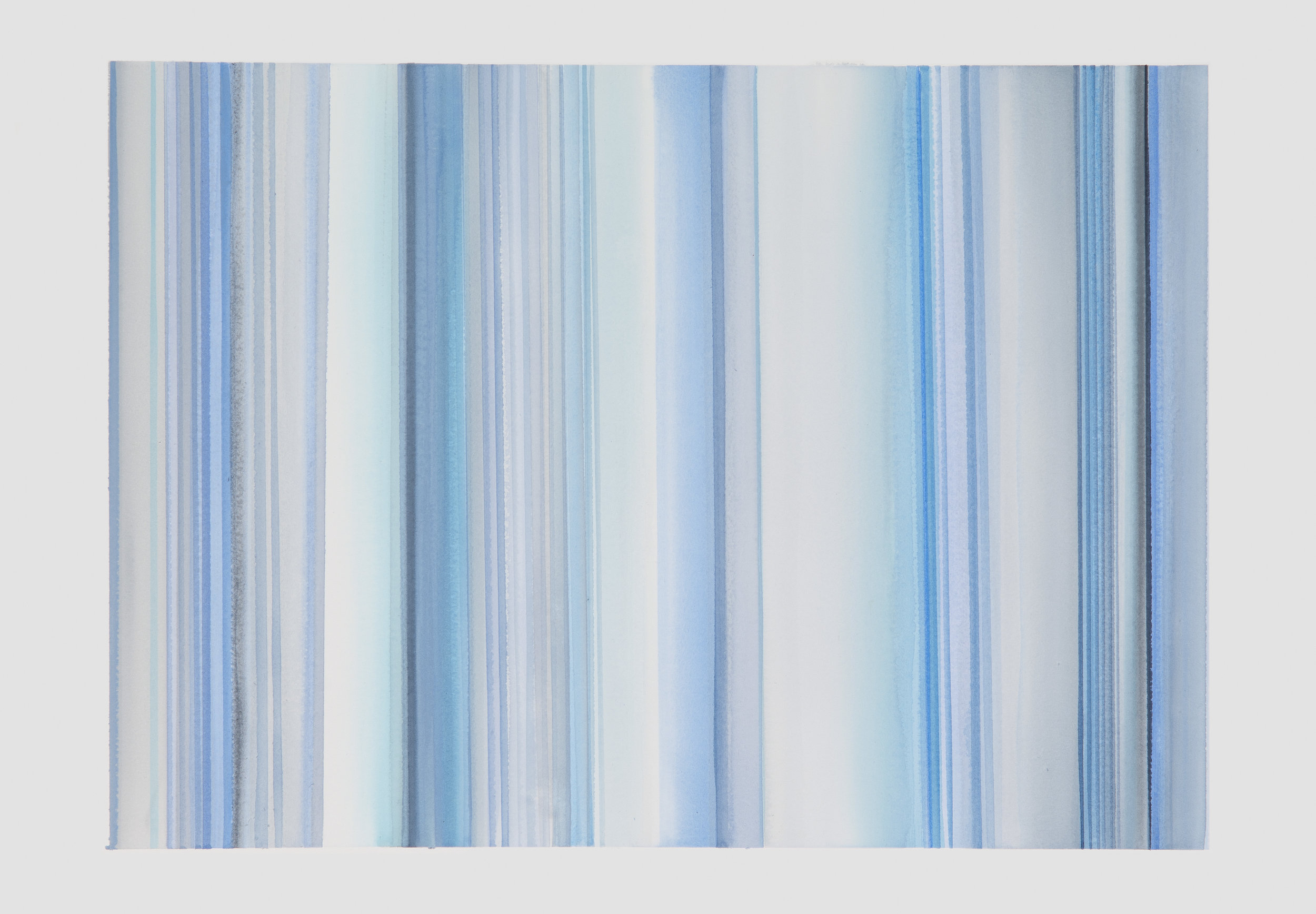 Blue Lines II, 2017, watercolor on paper, 22 x 30 in, $3,000   SOLD