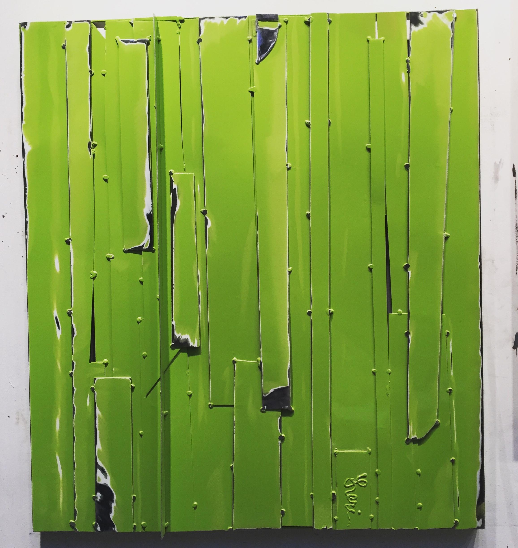Spring Green, 2018, painted welded steel, 29 x 26 in, $4,000