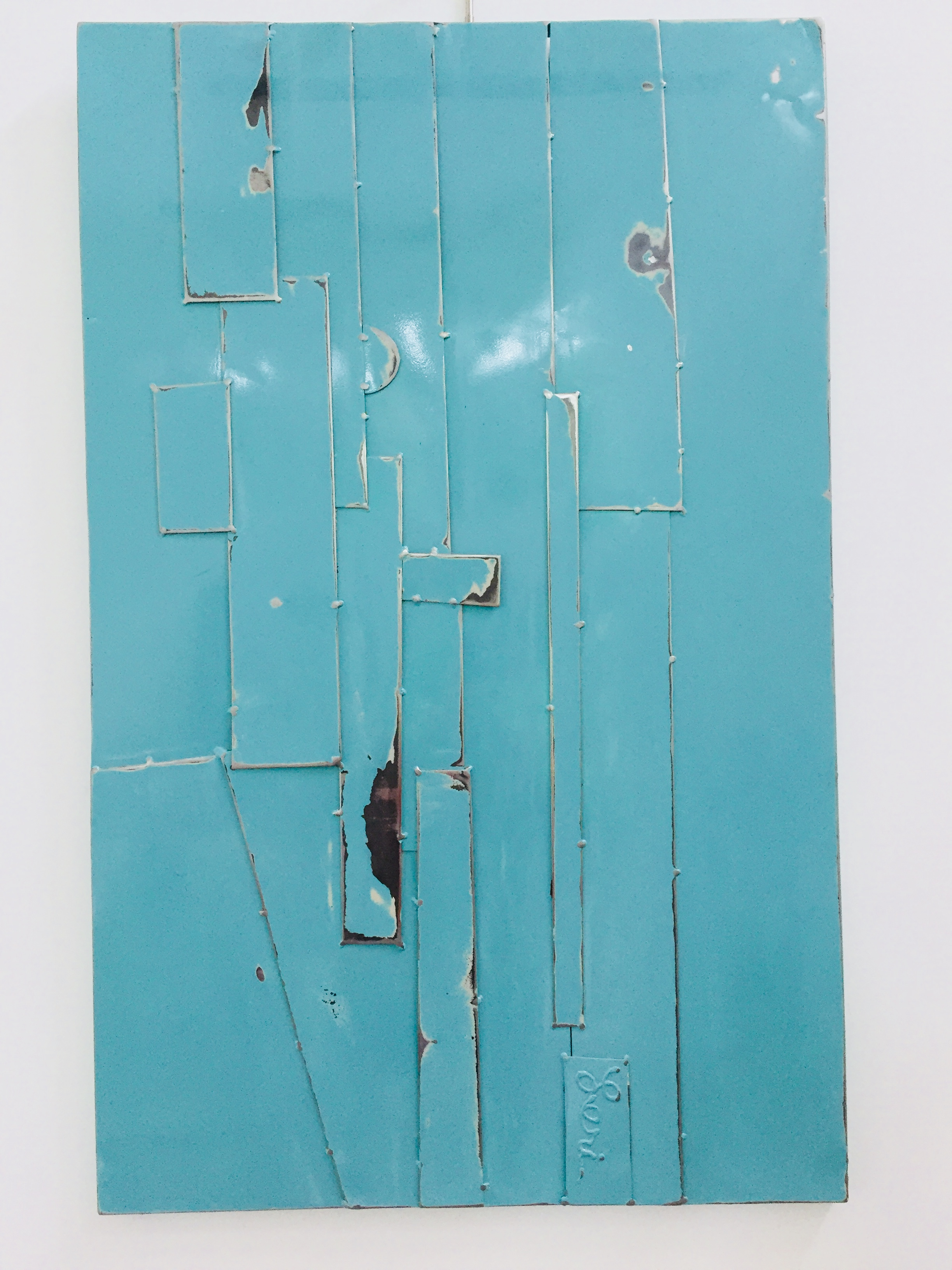Turquoise, 2016, painted welded steel, 48 x 30 in, $8,000