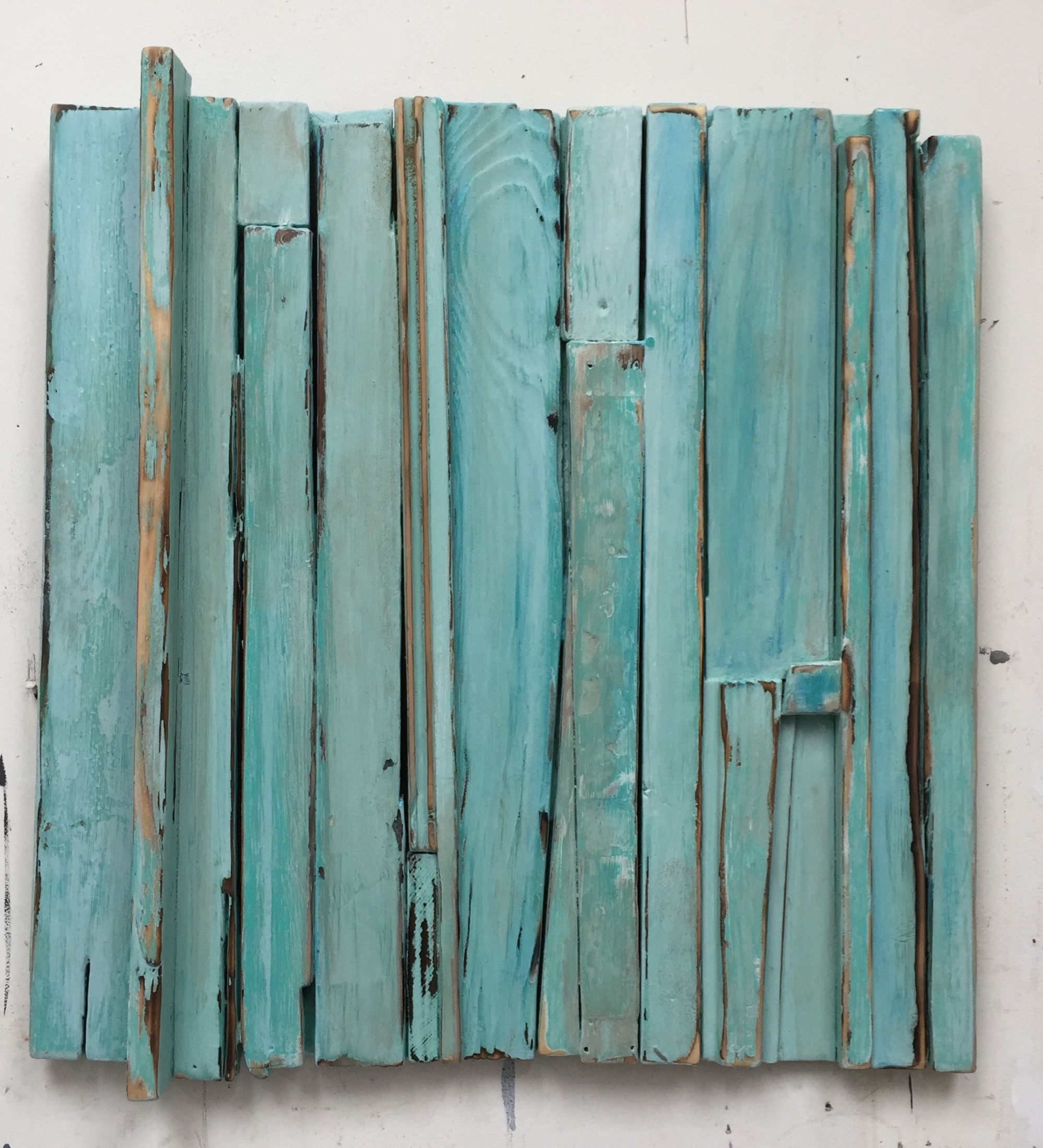Weathered Turquoise, 2016, acrylic on layered wood, 25 x 23 in, $3,500