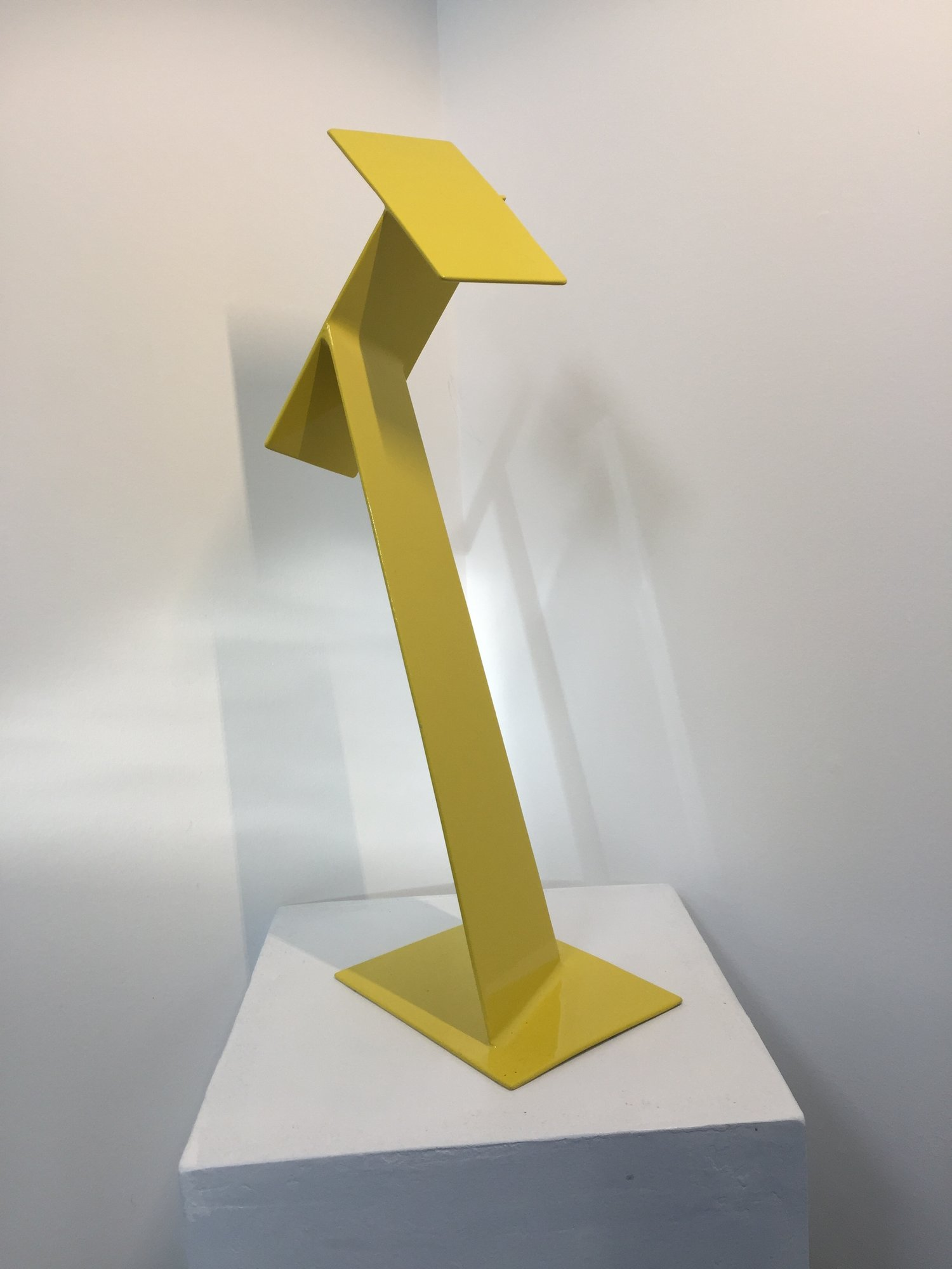 Yellow Convergence, 2015, painted welded steel, 20 x 7 x  5 in, $3,500