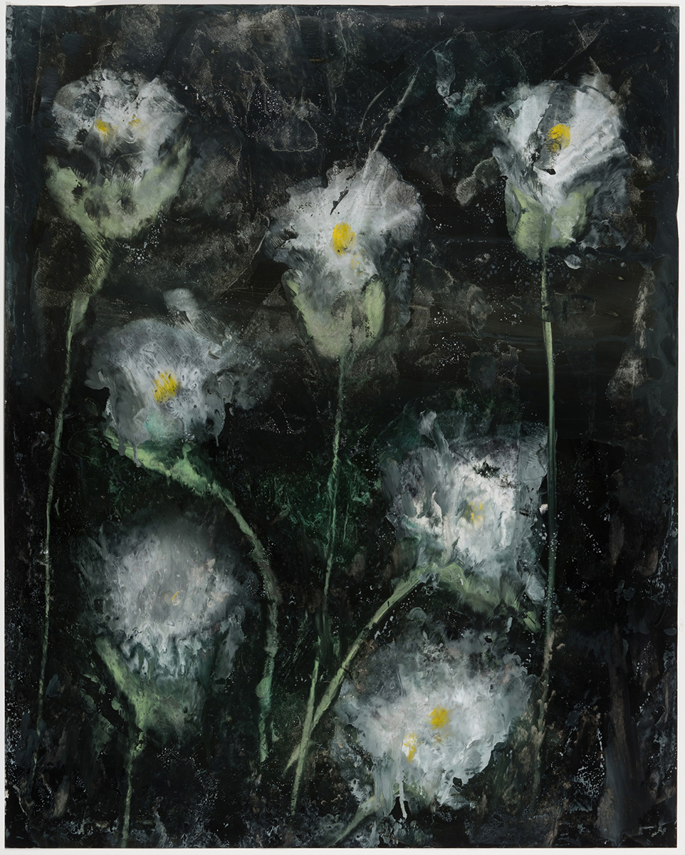 Flower Puffs, 2018, encaustic on paper, 47 x 39 in, $5,600