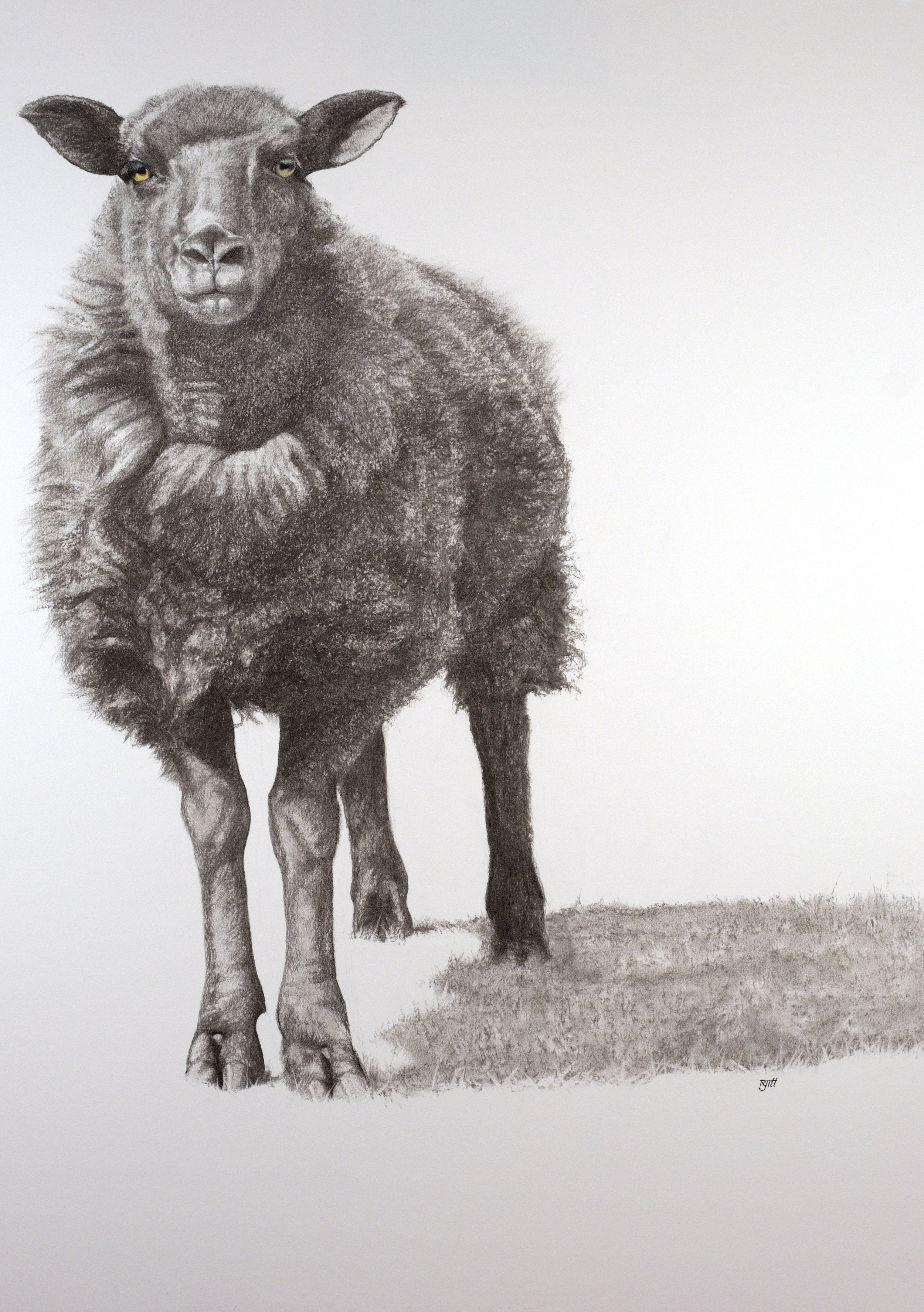 Dark One, 2018, charcoal with pastel, 33 x 23 in, $3,200