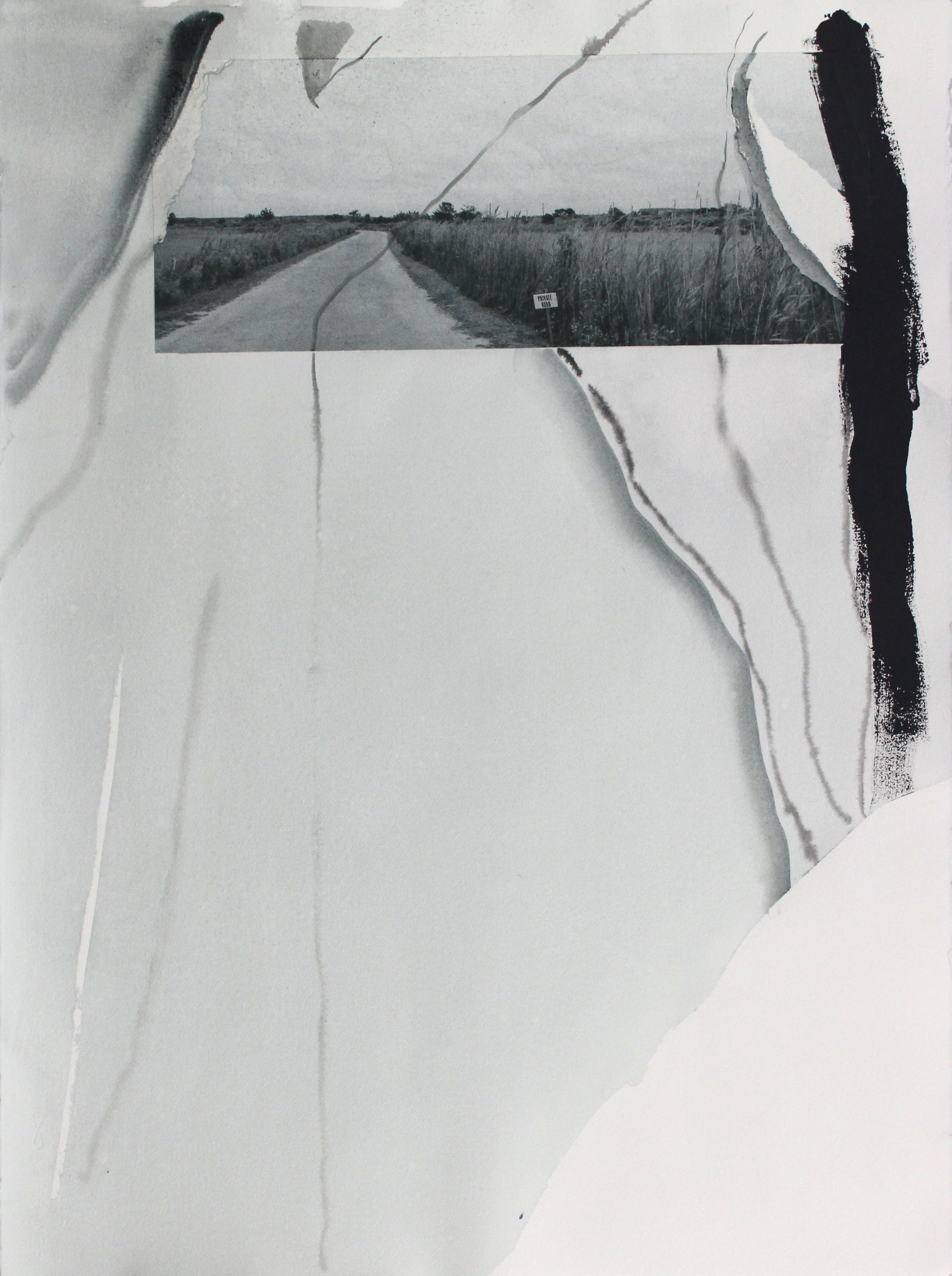 Traveling on My Private Road II, 2016, archival photographic print, watercolor, ink, gesso, 30 x 22 in (framed), $2,300