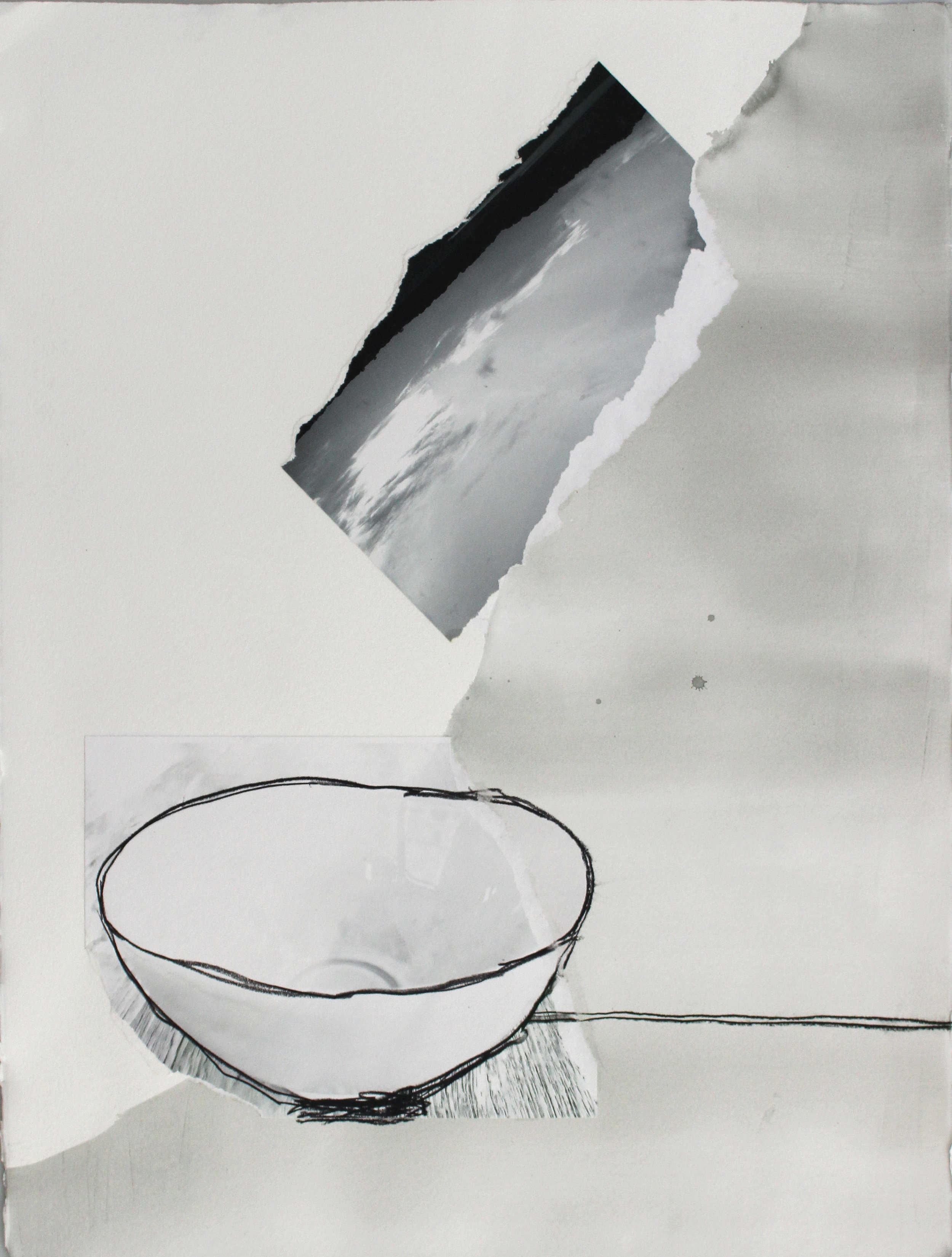 Finding Peace in an Empty Bowl, 2016, archival photographic prints, ink, graphite, 30 x 22 in (framed), $2,300