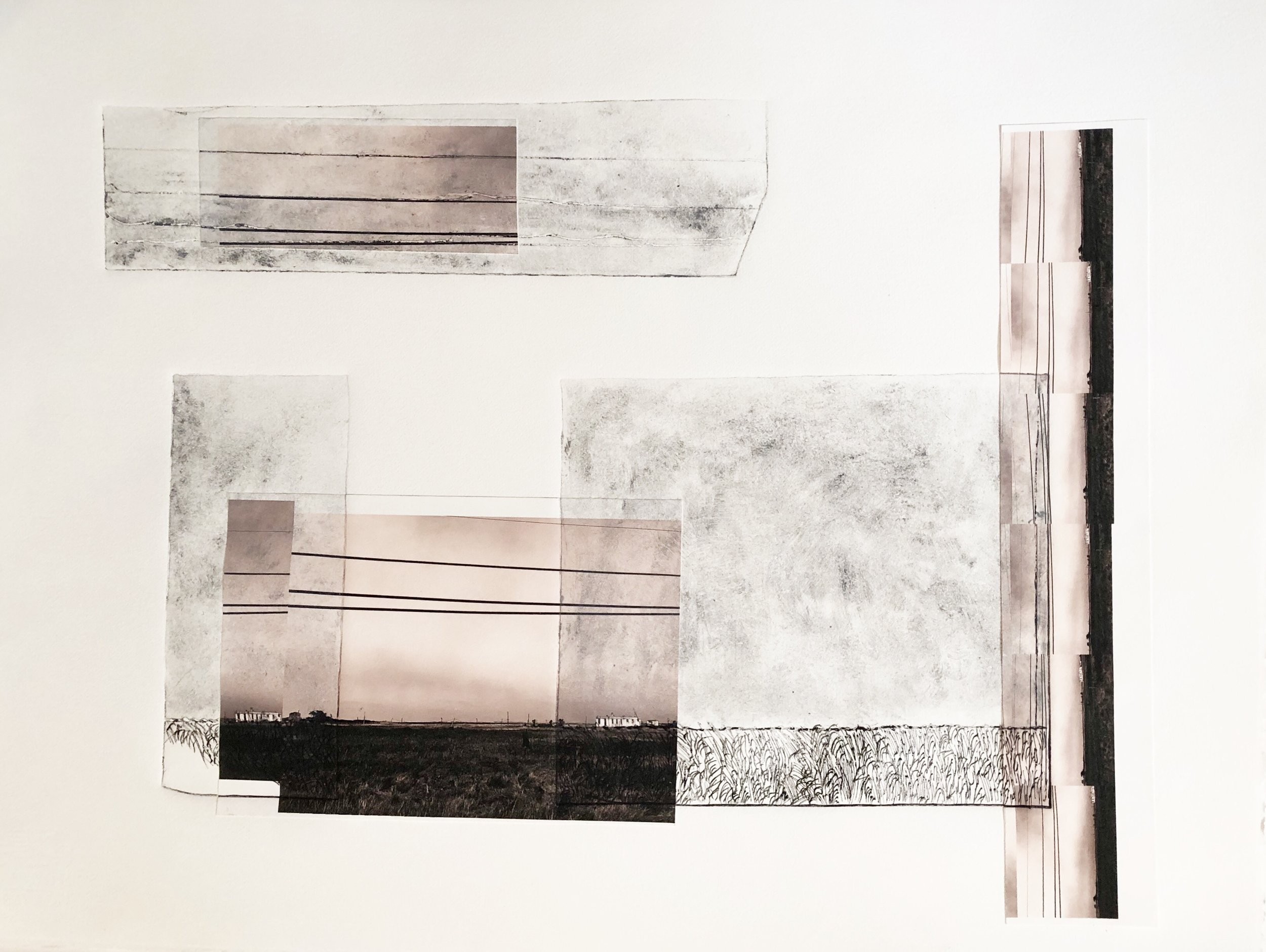 Napeague Horizons, 2018, archival print photographs, etching, monotypes, 22 x 30 in, $2,300