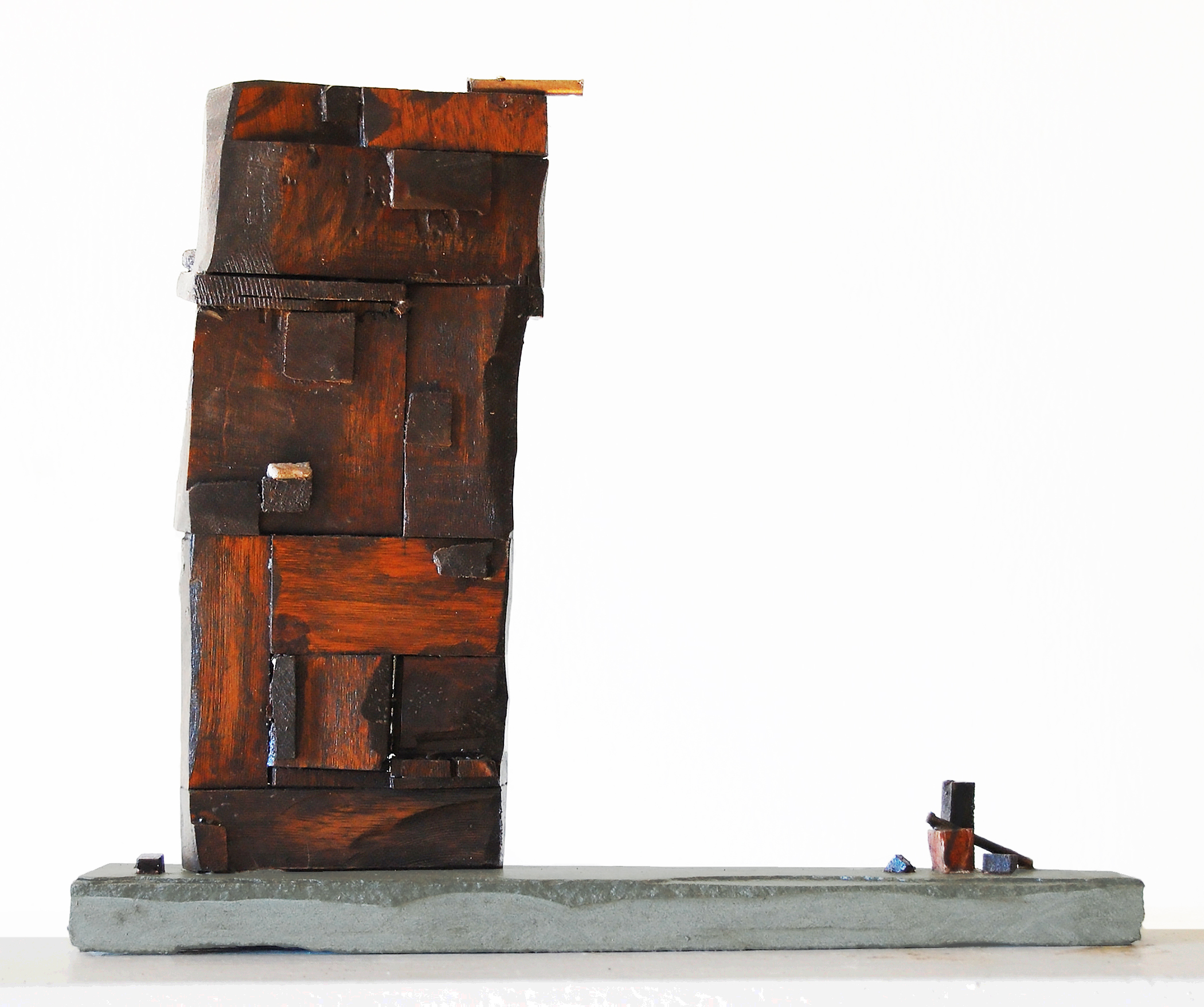 Open Door, 2015, wood, marble, bronze, 19 in, SOLD