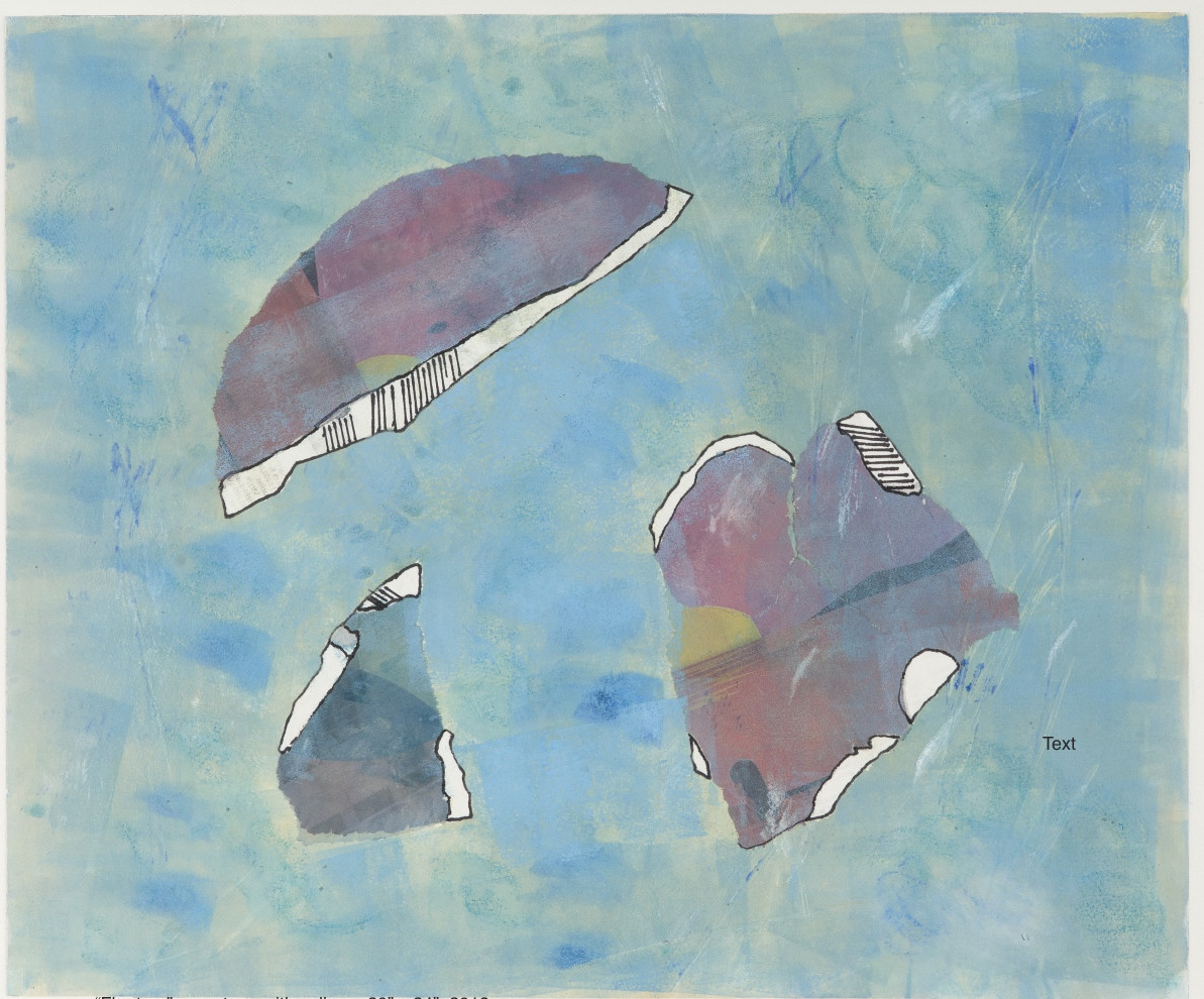 Floaters, 2018, monotype with collage, 20 x 24 in, $400