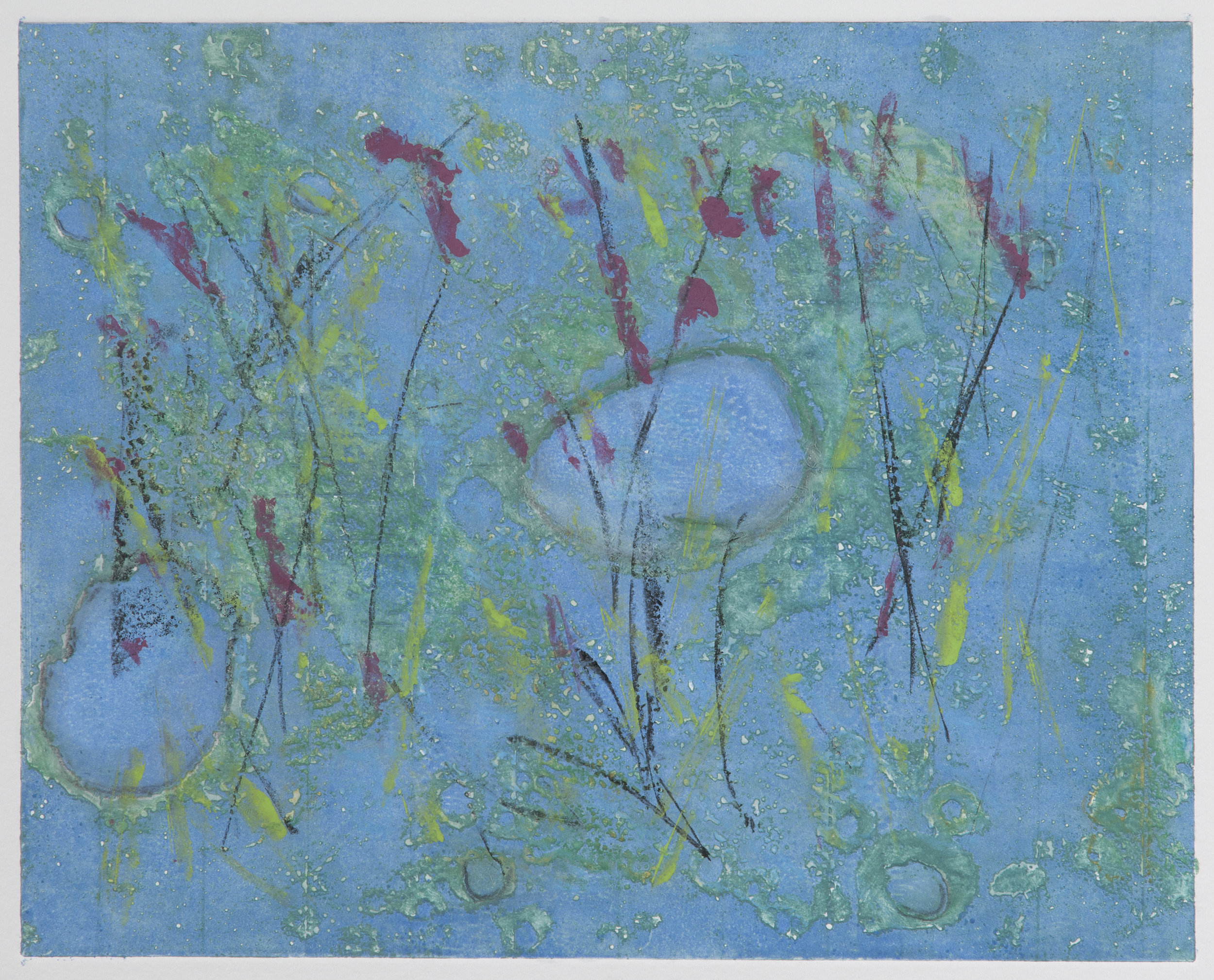 Spring Run Off, 2018, monotype, 11 x 12 in, SOLD