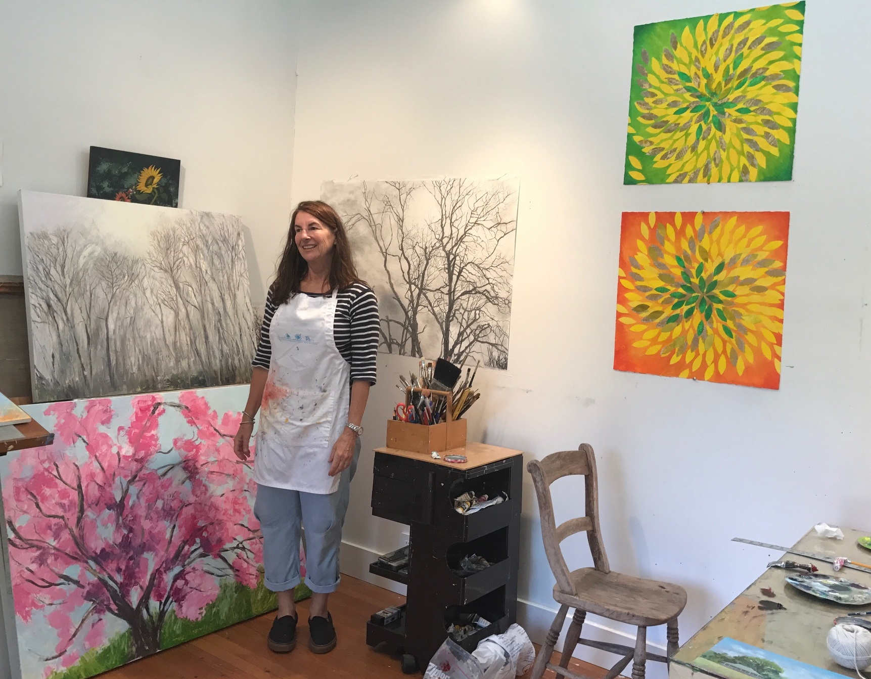 Thomas in her studio