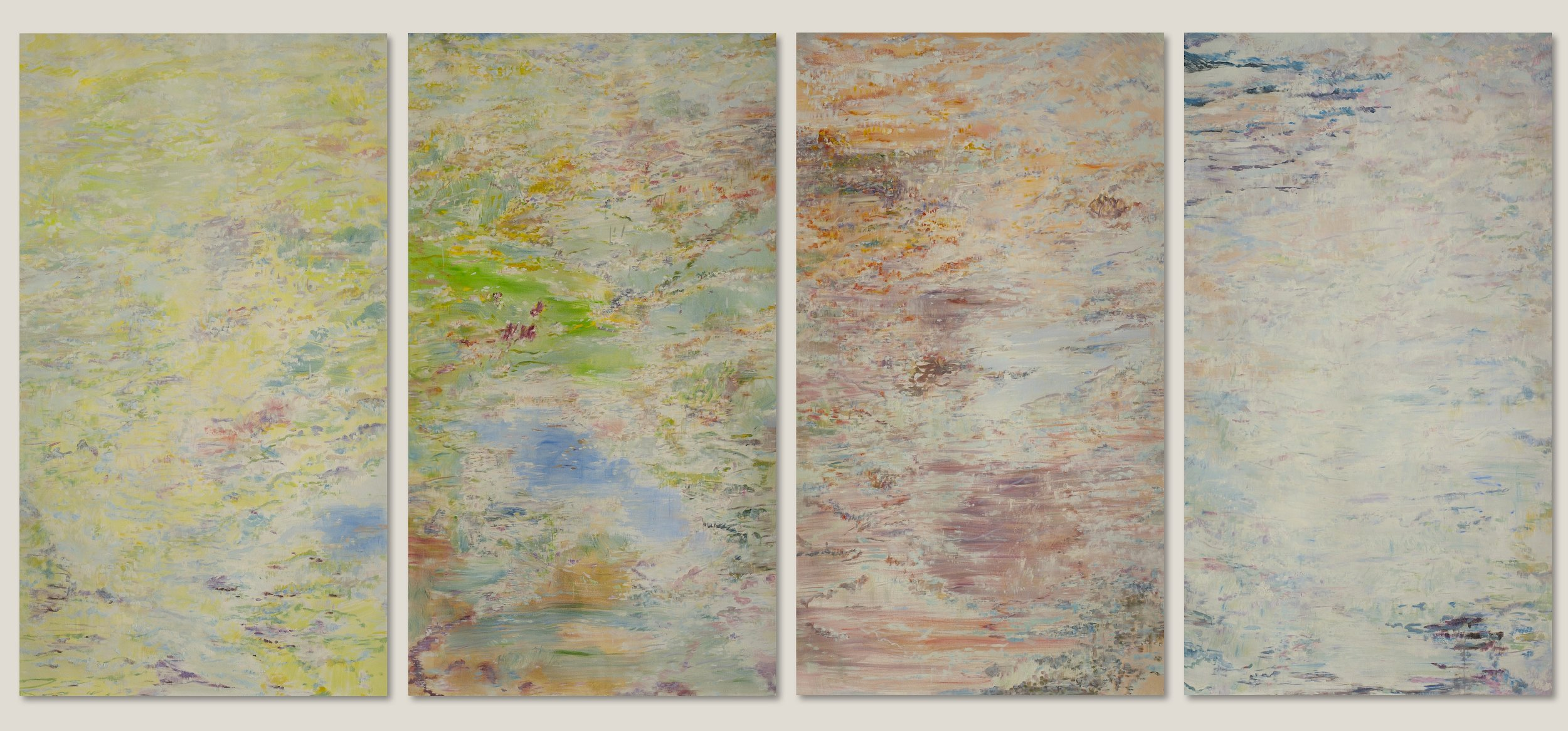 The Seasons, 2014, oil, canvas, 92 x 54 in, $4,5000