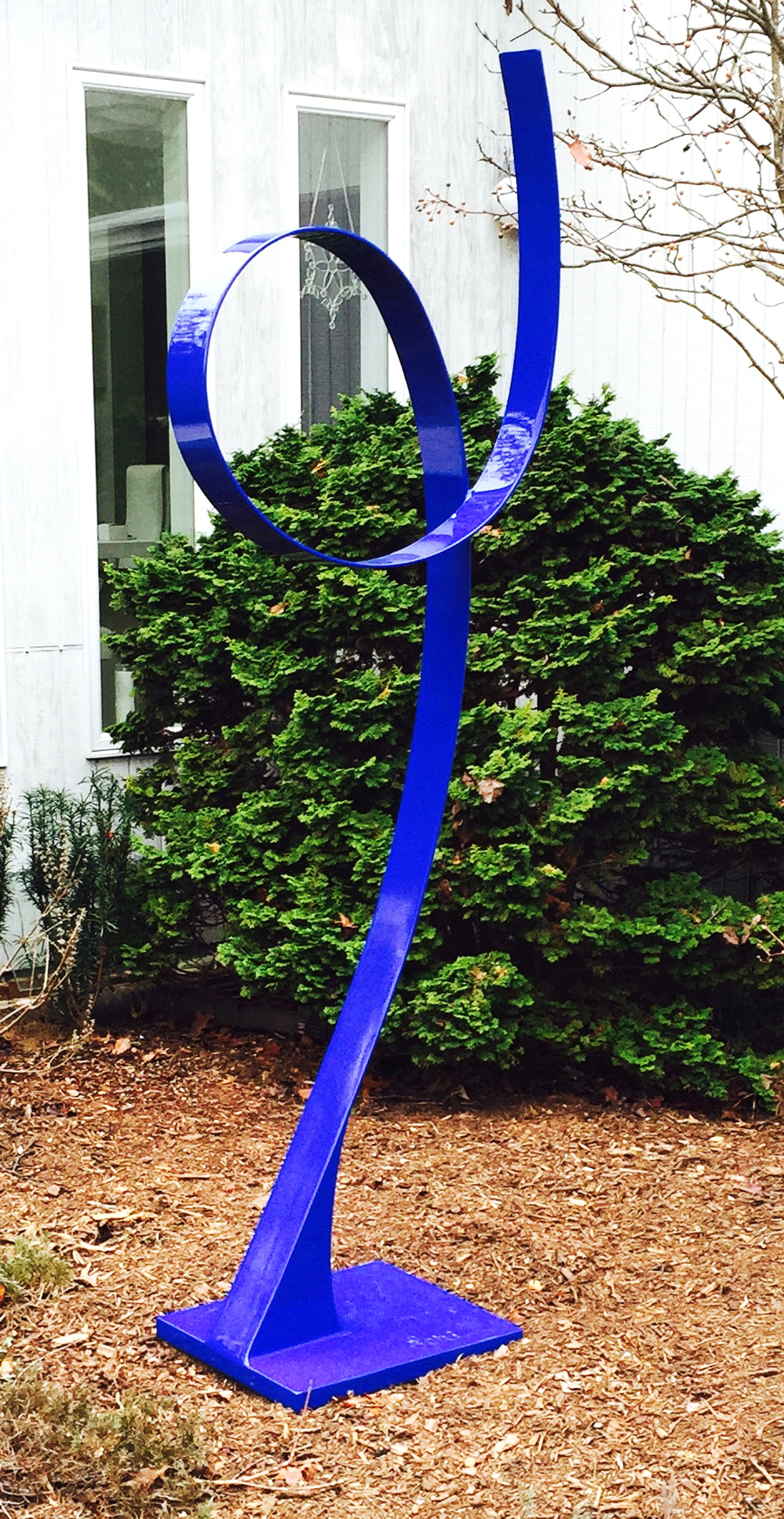 Blue Ribbon #2, 2015, painted, welded steel, 80 x 16 x 20 in, SOLD
