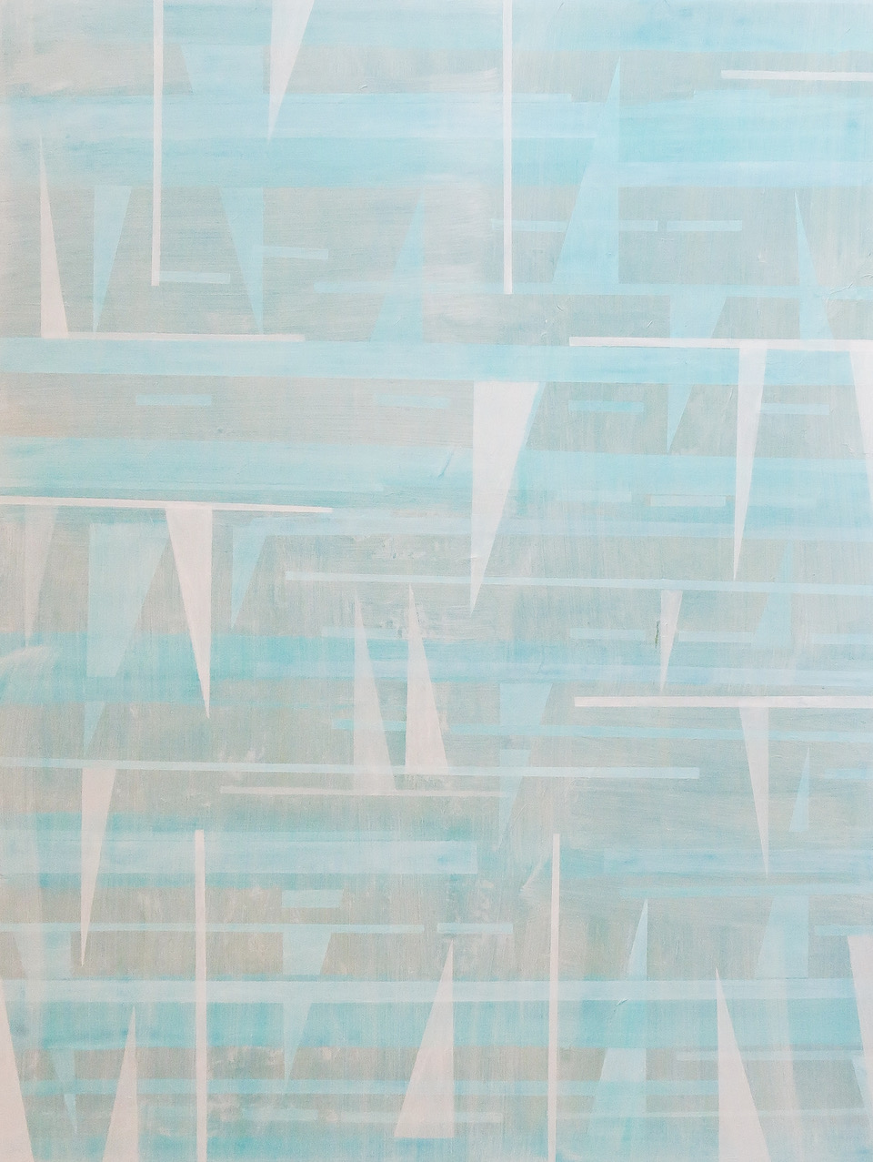 Turquoise Geometry, mixed media on canvas, 36 x 48 in, $8000