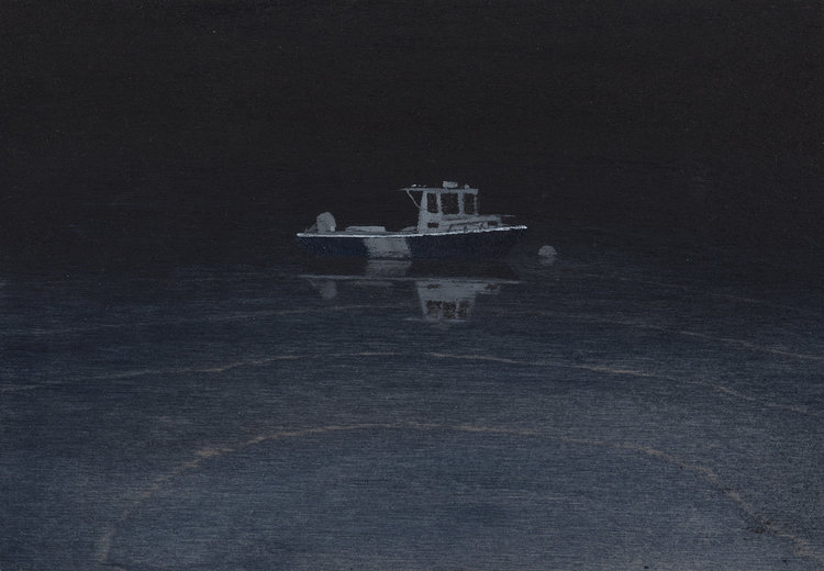 Ghost Boat, 2018, acrylic on wood, 5 x 7 in, SOLD